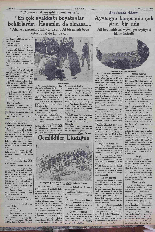28 Temmuz 1934 Tarihli Akşam Dergisi Sayfa 6