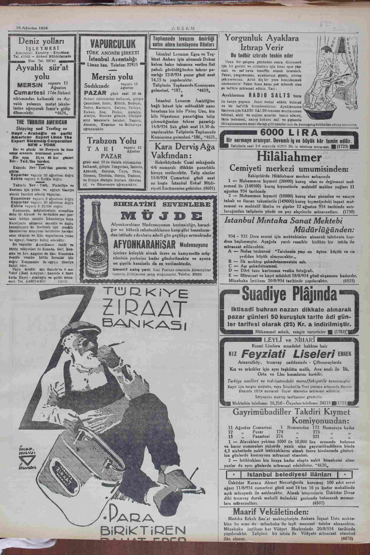 August 10, 1934 Tarihli Akşam Dergisi Sayfa 11