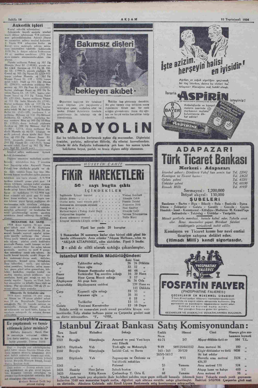 15 Kasım 1934 Tarihli Akşam Dergisi Sayfa 14