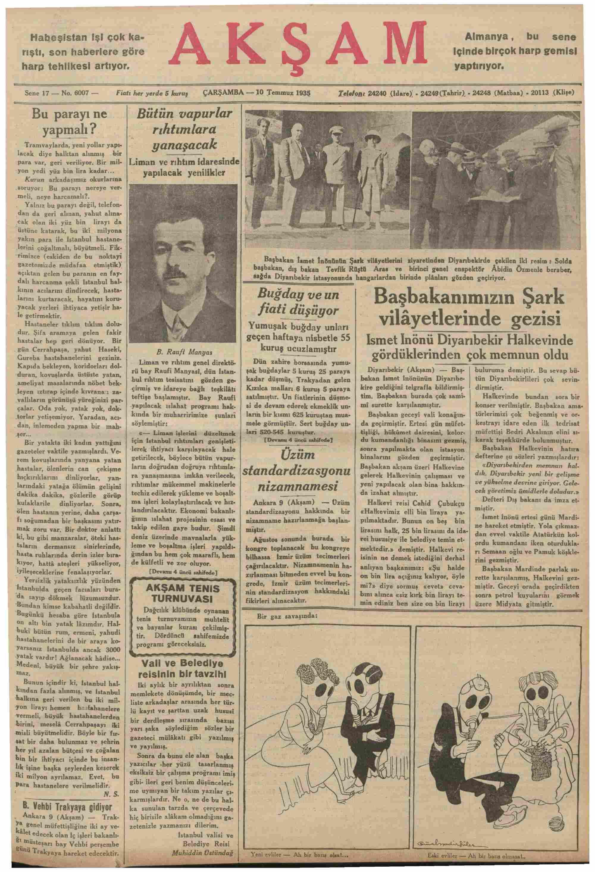 10 Temmuz 1935 Tarihli Akşam Gazetesi Sayfa 1