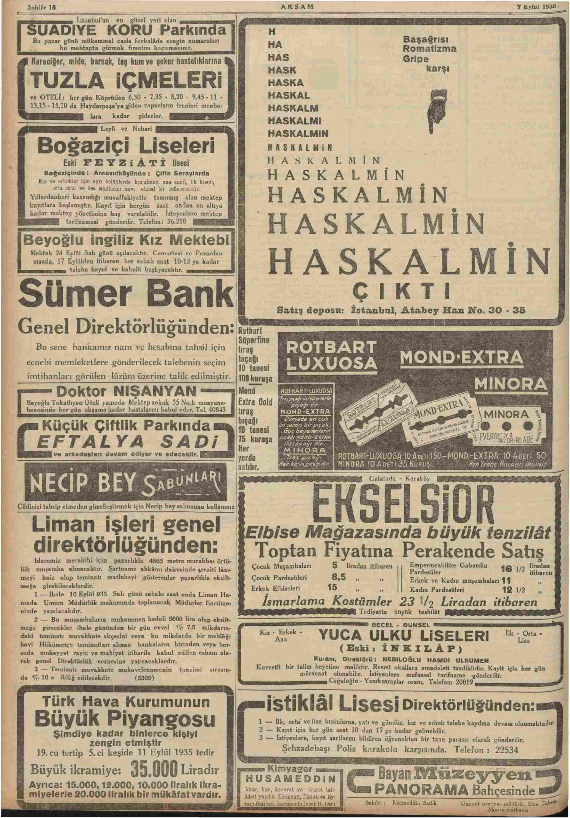 7 Eylül 1935 Tarihli Akşam Dergisi Sayfa 16