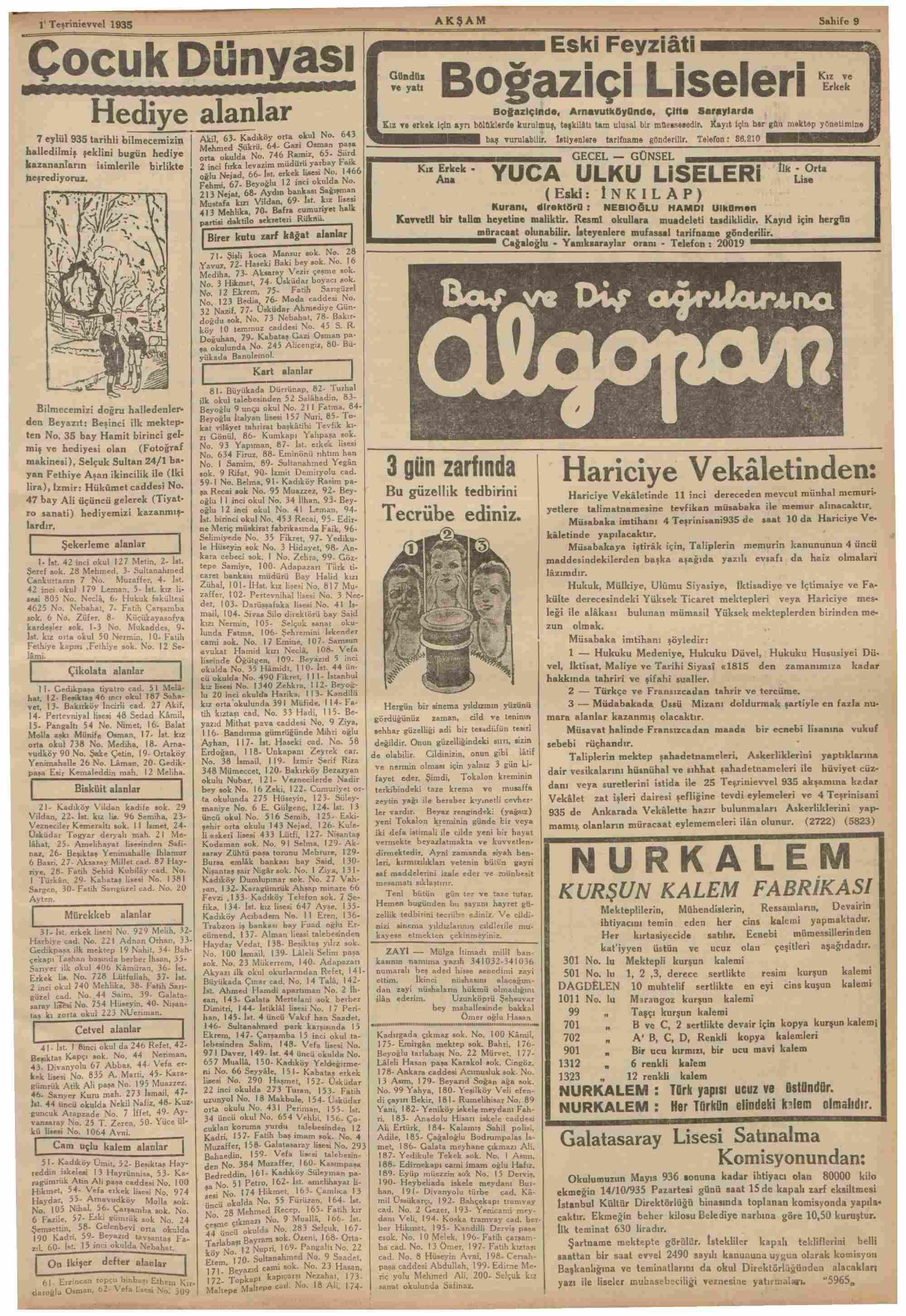 1 Ekim 1935 Tarihli Akşam Dergisi Sayfa 7
