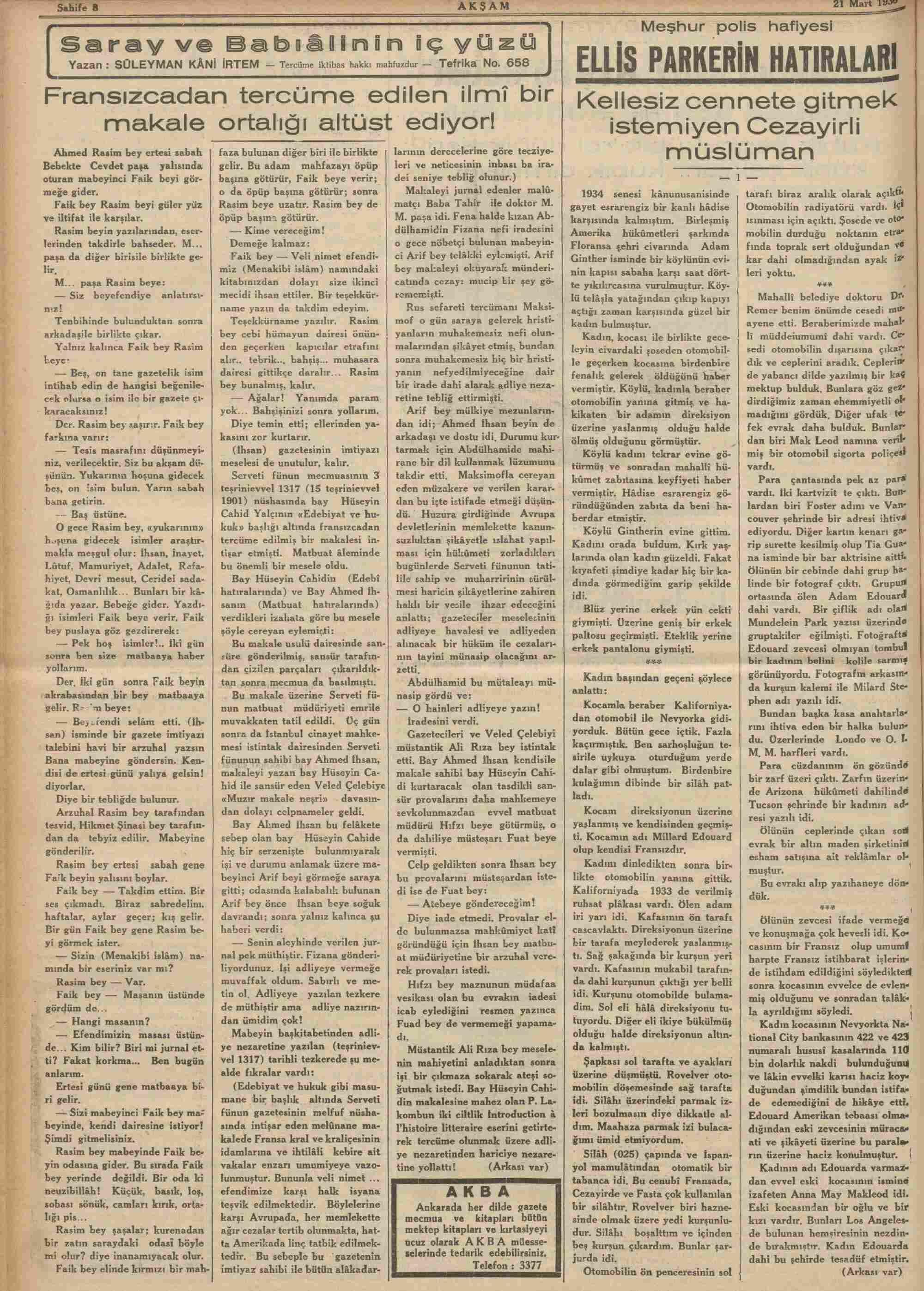 21 Mart 1936 Tarihli Akşam Dergisi Sayfa 8