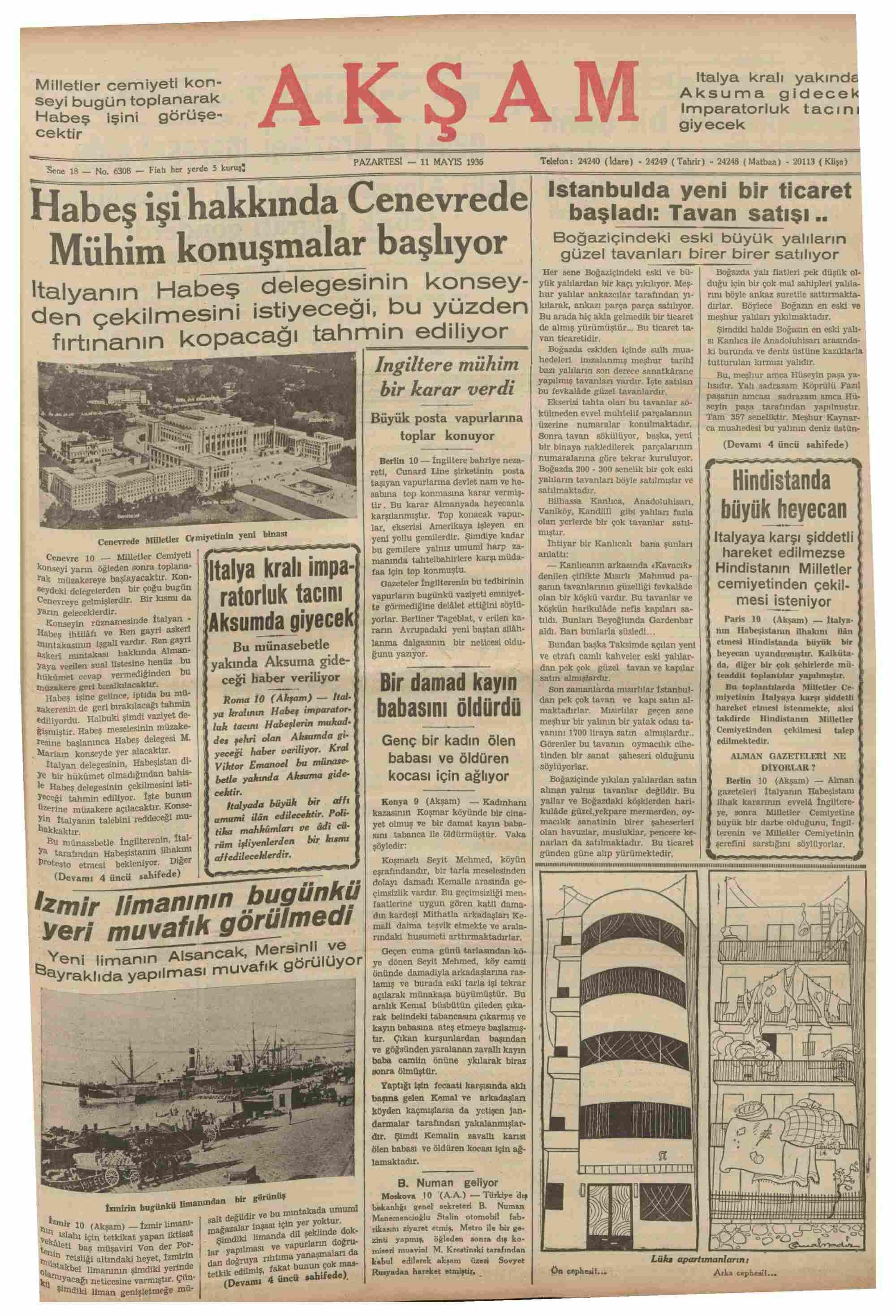 11 Mayıs 1936 Tarihli Akşam Gazetesi Sayfa 1