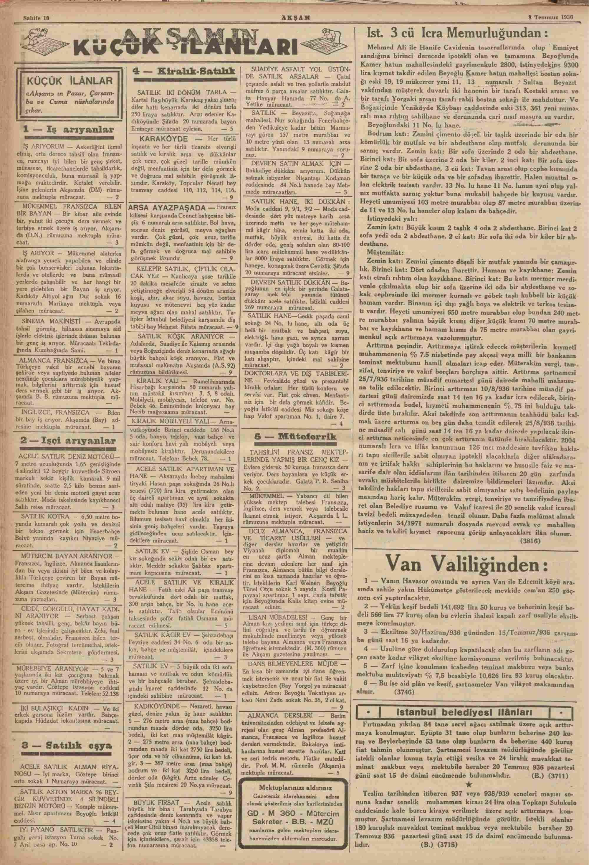 8 Temmuz 1936 Tarihli Akşam Dergisi Sayfa 10