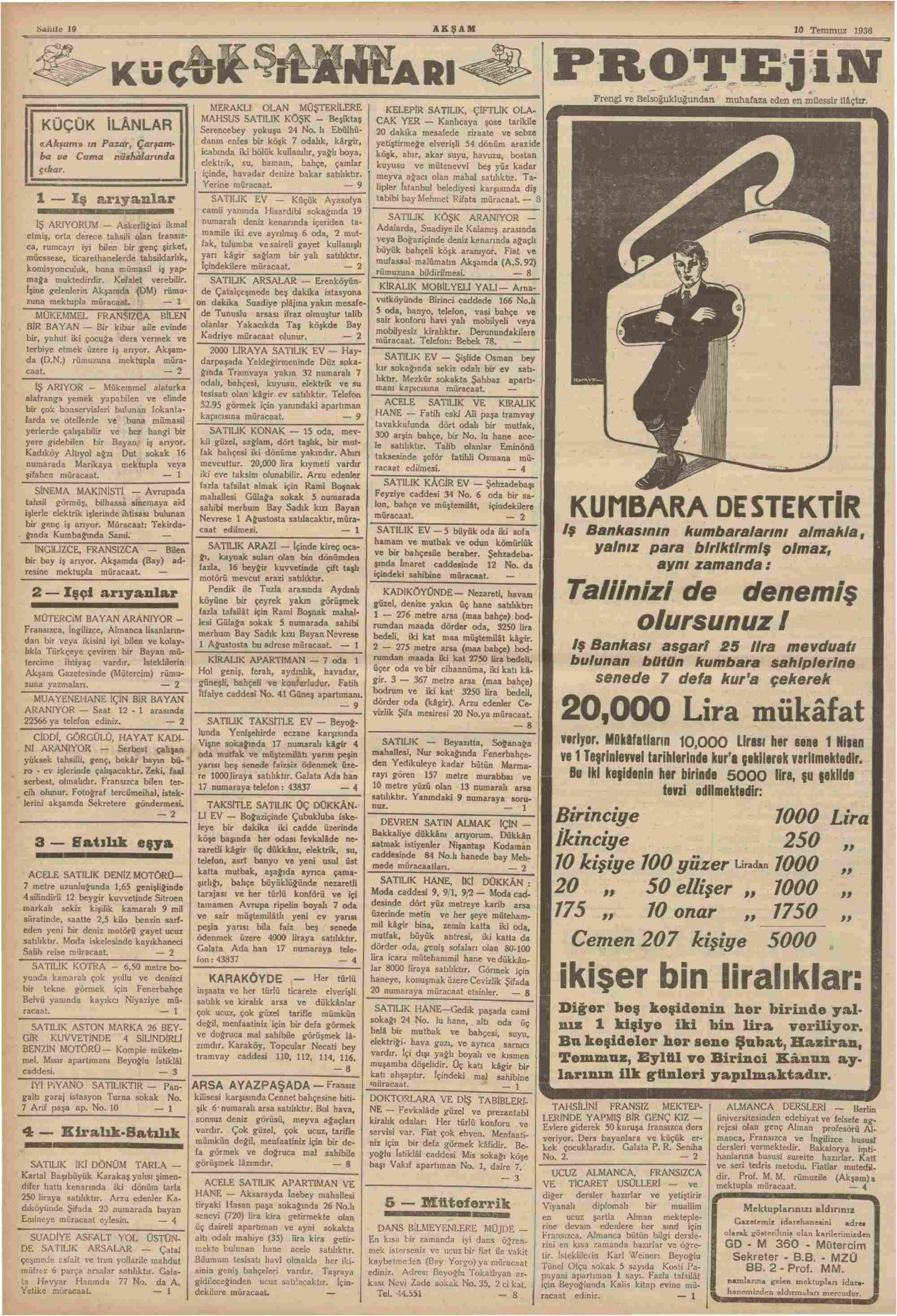 10 Temmuz 1936 Tarihli Akşam Dergisi Sayfa 10