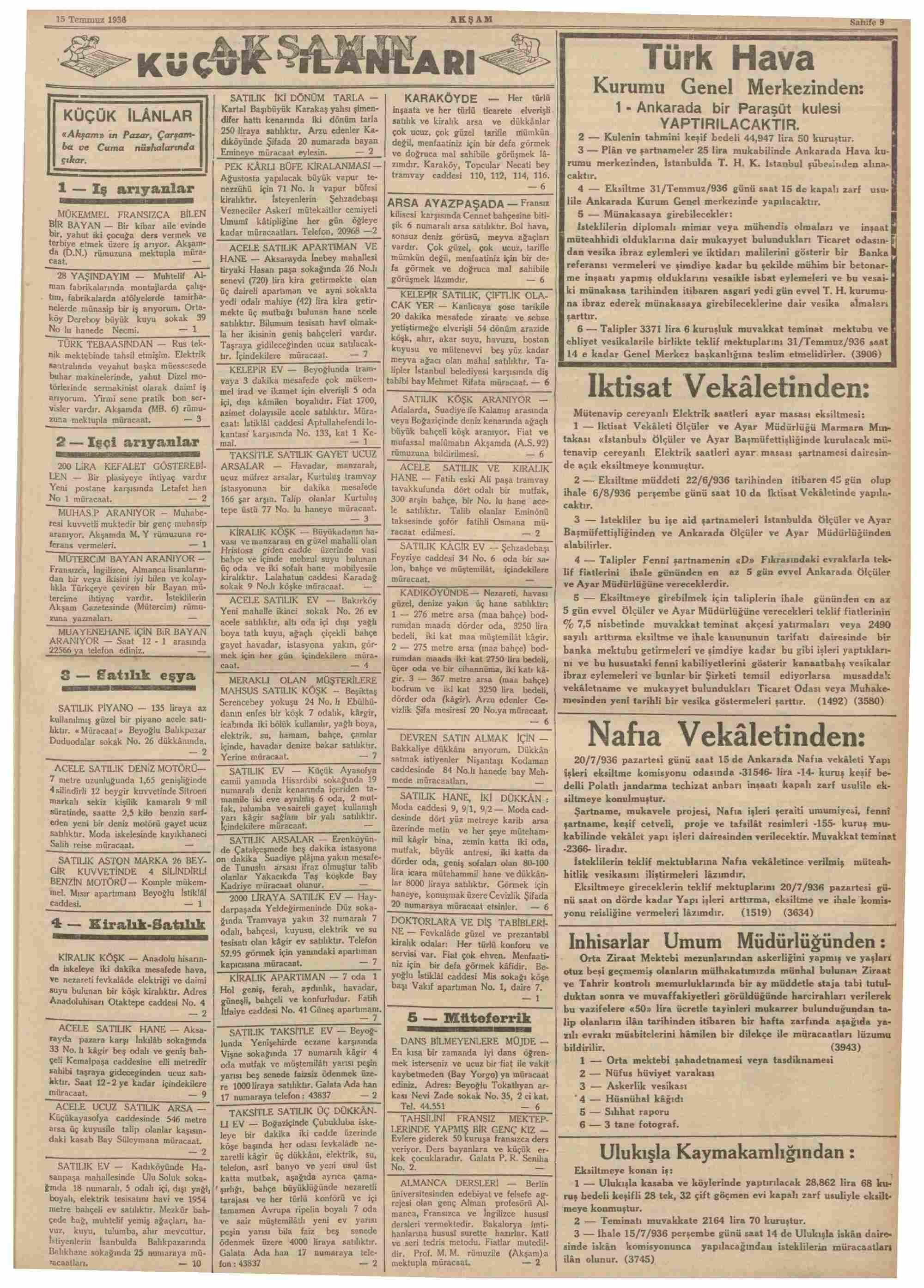 15 Temmuz 1936 Tarihli Akşam Dergisi Sayfa 9