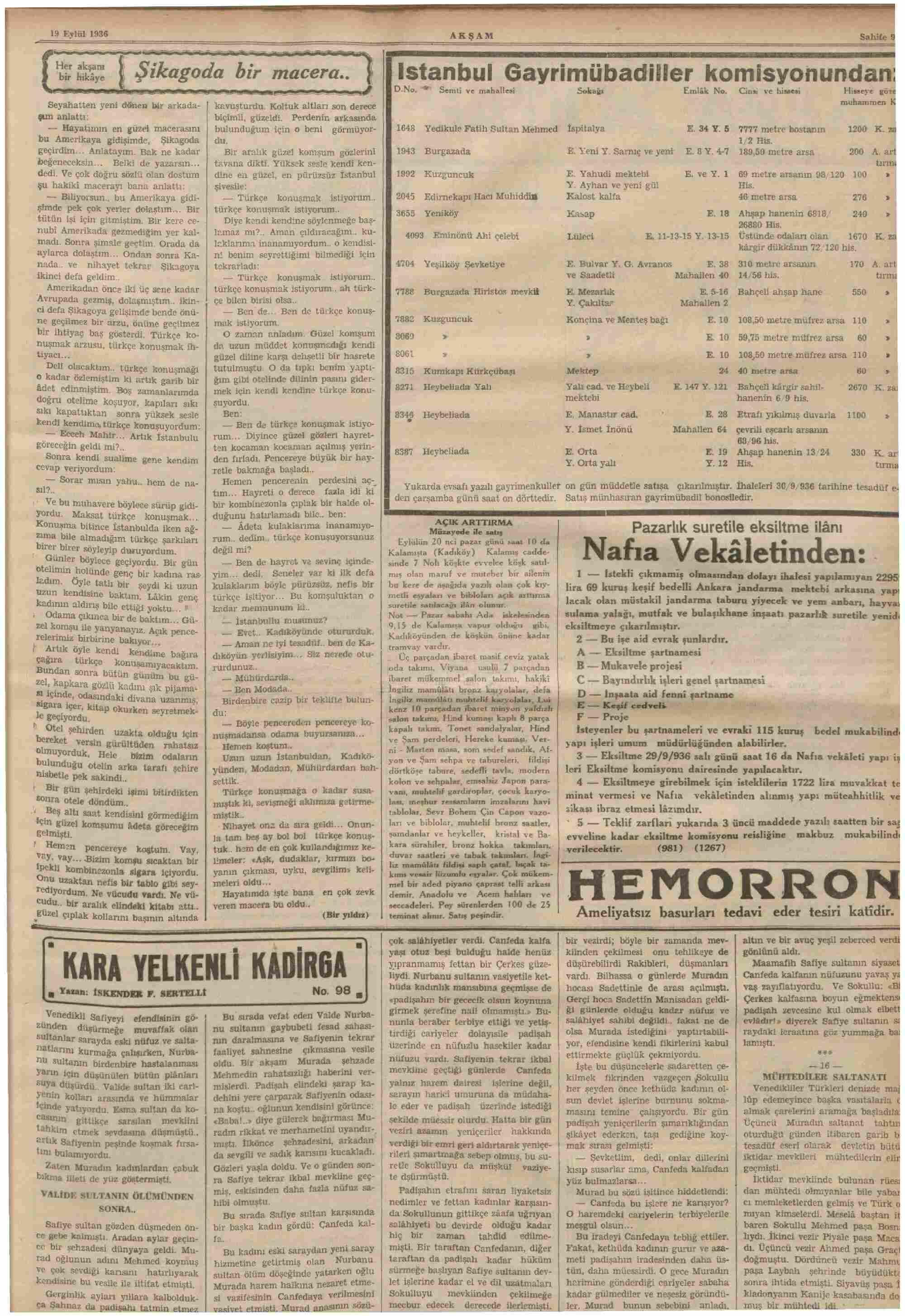 19 Eylül 1936 Tarihli Akşam Dergisi Sayfa 9