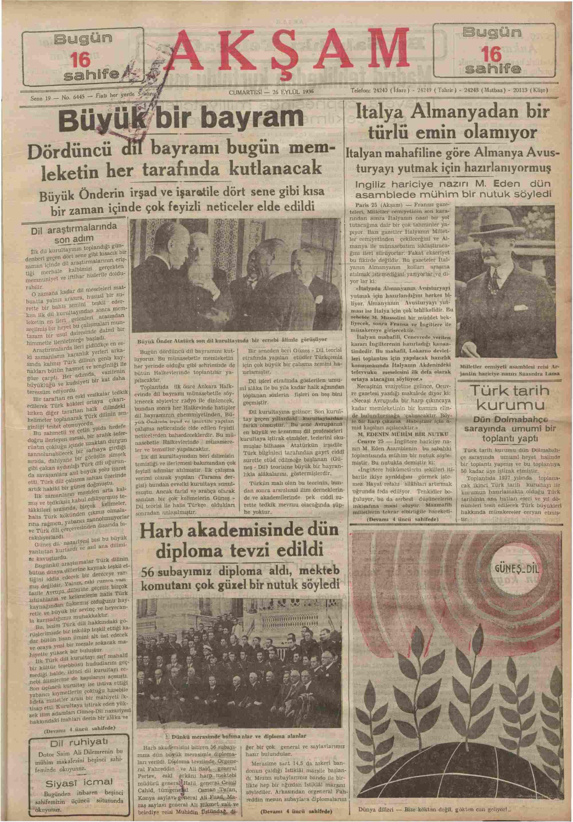 26 Eylül 1936 Tarihli Akşam Gazetesi Sayfa 1