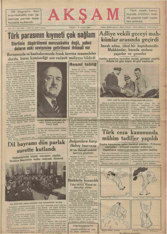 27 Eylül 1936 Tarihli Akşam Gazetesi Sayfa 1