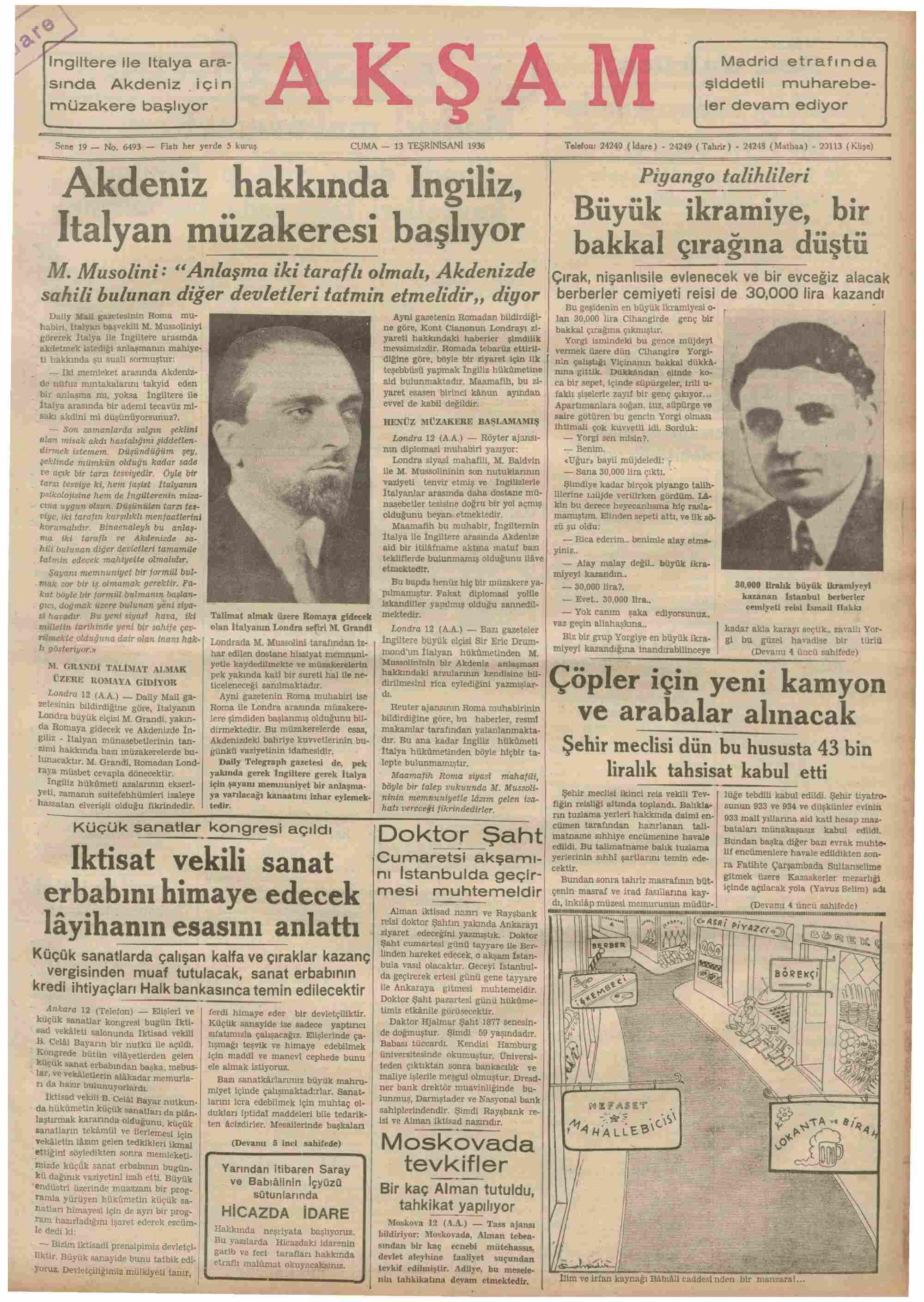 13 Kasım 1936 Tarihli Akşam Dergisi Sayfa 1