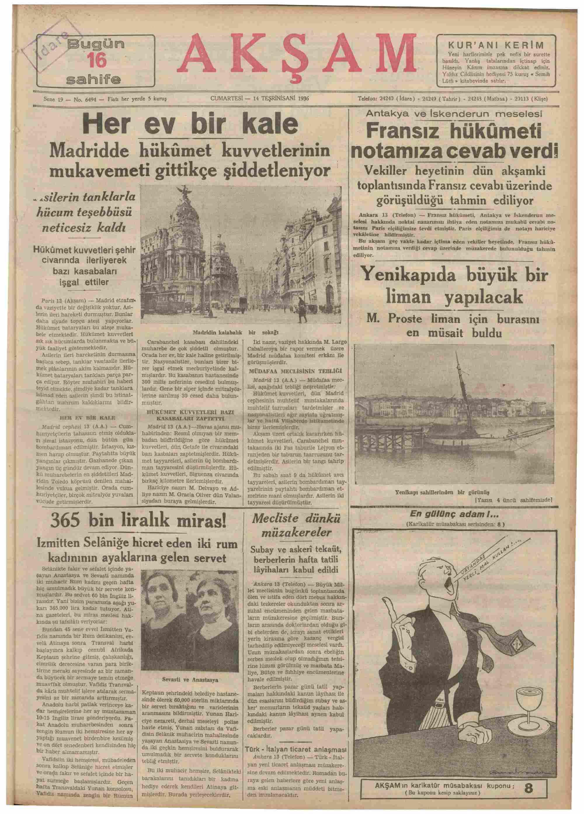 14 Kasım 1936 Tarihli Akşam Dergisi Sayfa 1