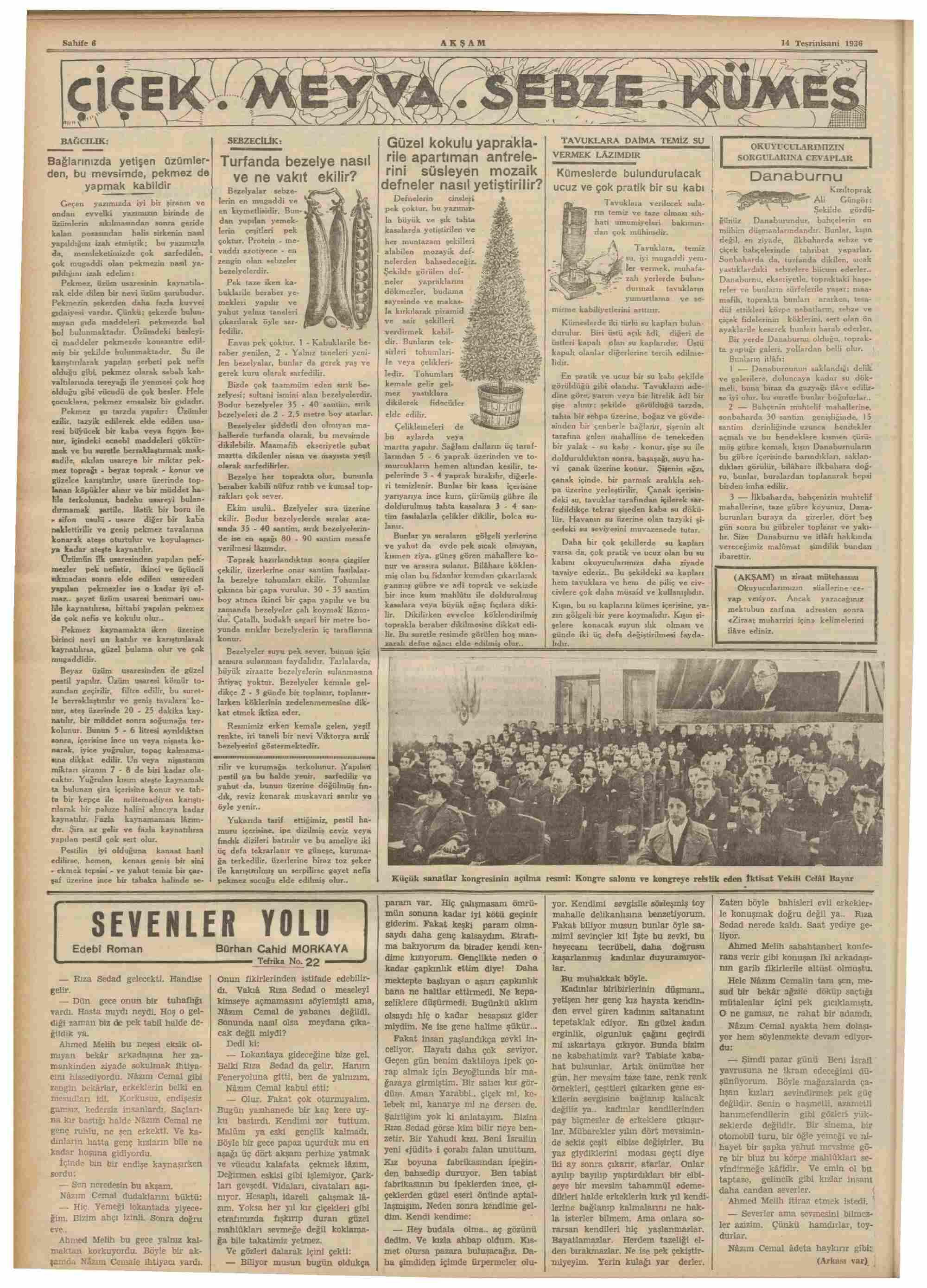 14 Kasım 1936 Tarihli Akşam Dergisi Sayfa 6