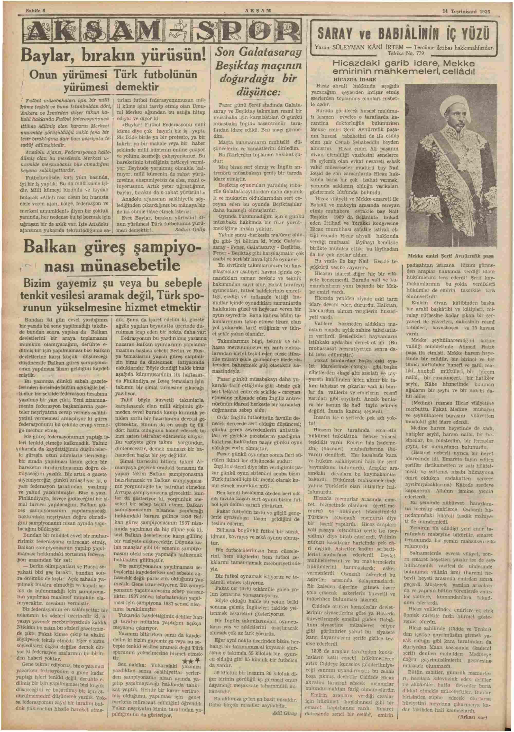 14 Kasım 1936 Tarihli Akşam Dergisi Sayfa 8