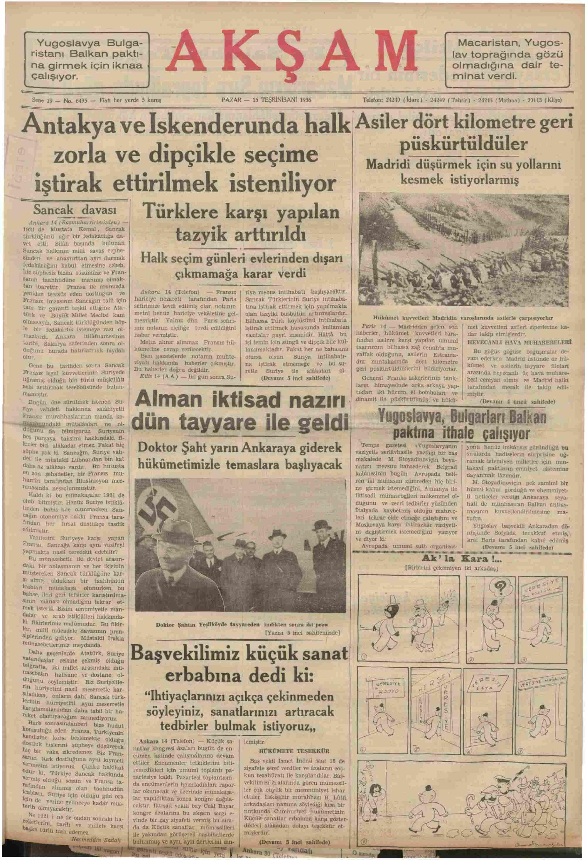 15 Kasım 1936 Tarihli Akşam Gazetesi Sayfa 1