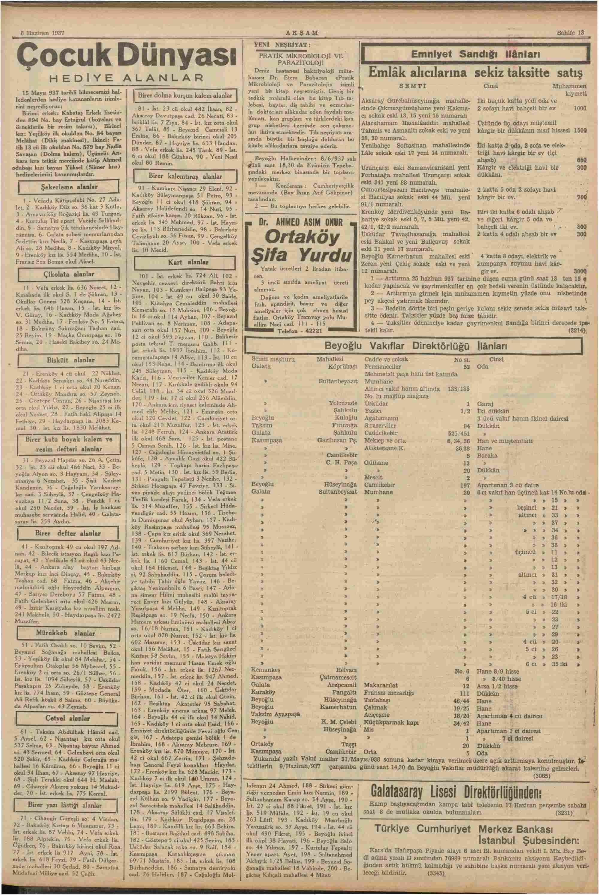 8 Haziran 1937 Tarihli Akşam Dergisi Sayfa 13
