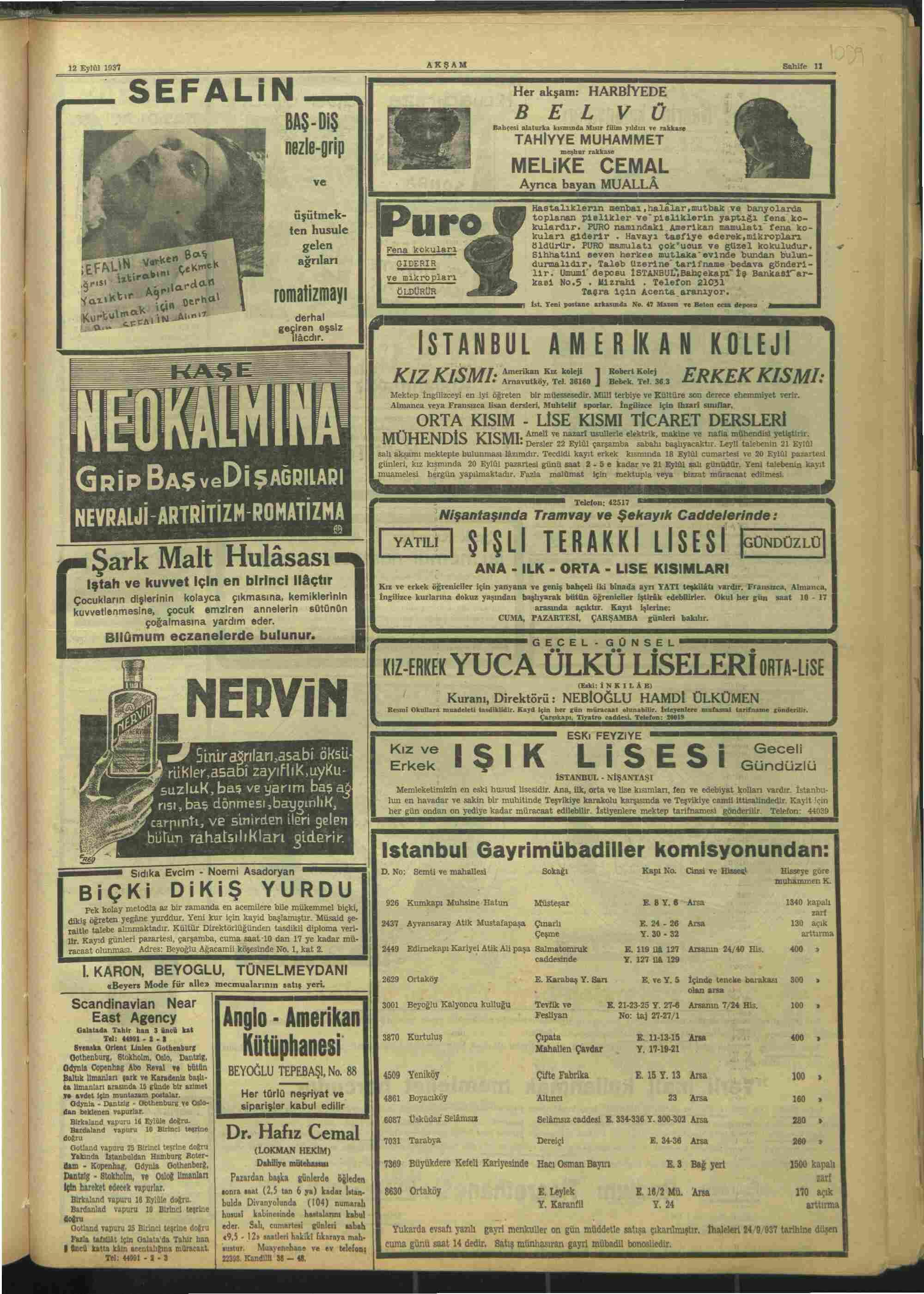 12 Eylül 1937 Tarihli Akşam Dergisi Sayfa 11