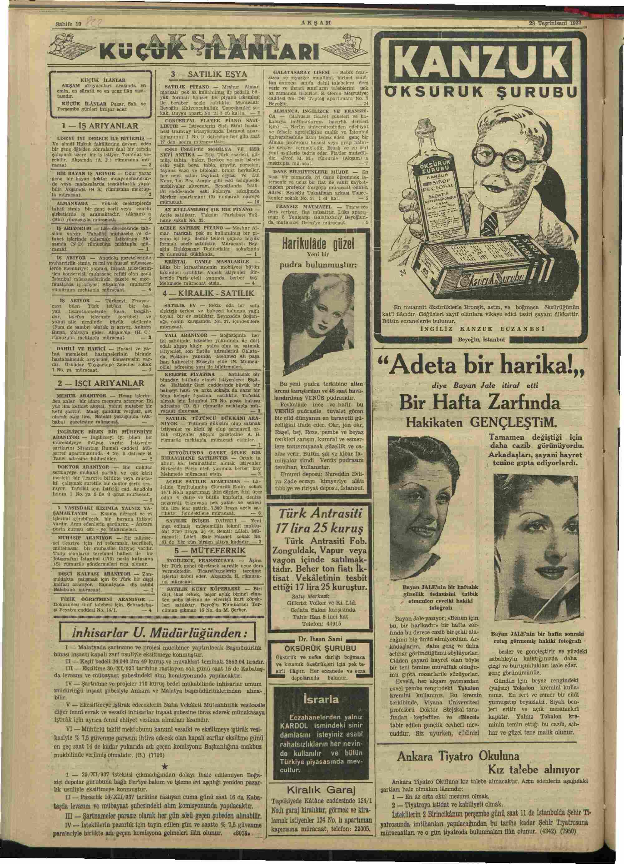 28 Kasım 1937 Tarihli Akşam Dergisi Sayfa 10