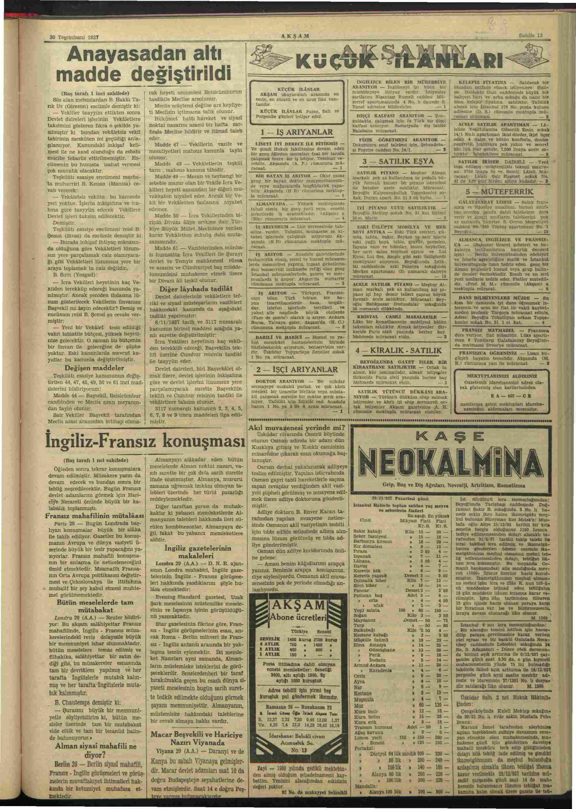 30 Kasım 1937 Tarihli Akşam Dergisi Sayfa 13