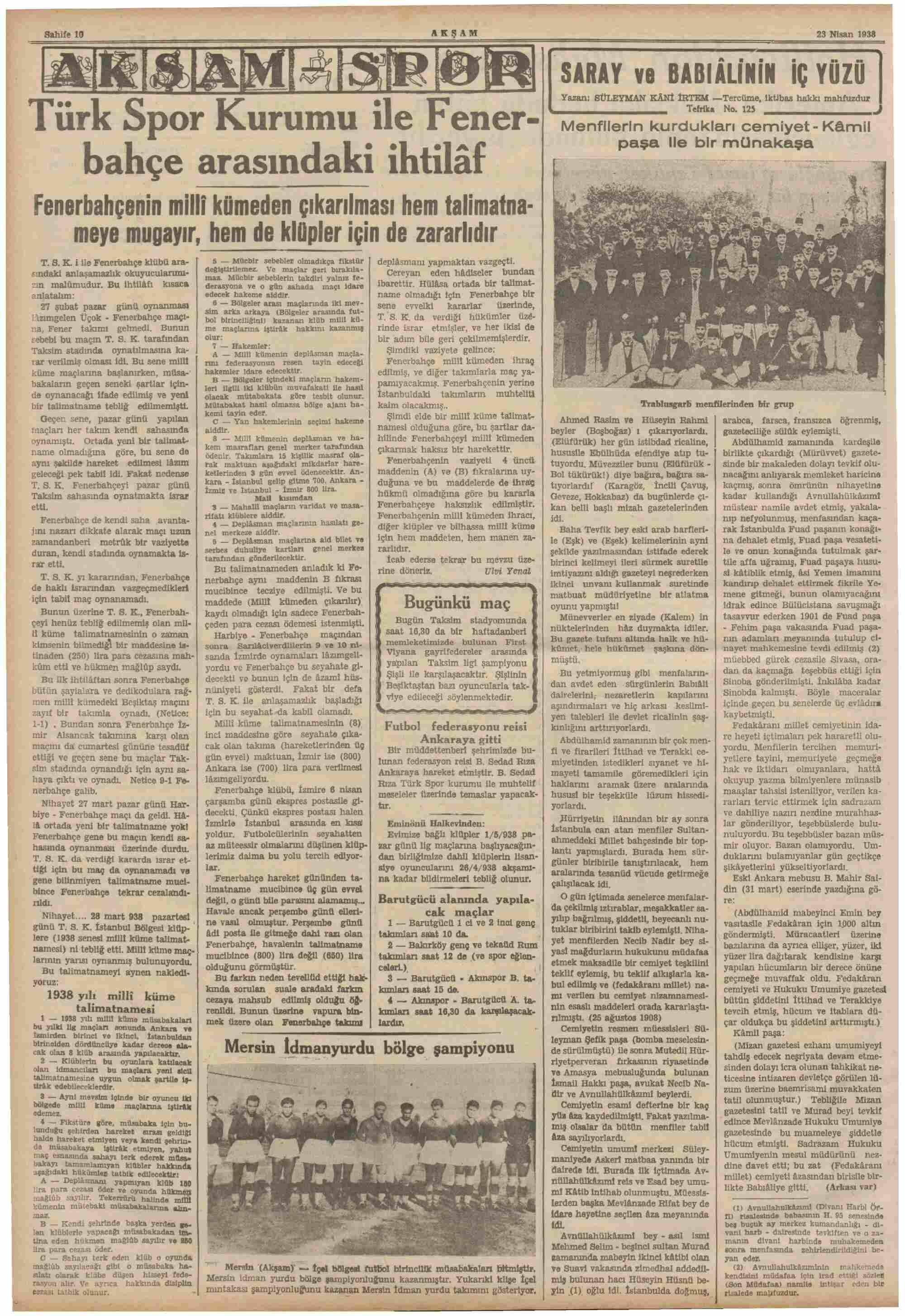 23 Nisan 1938 Tarihli Akşam Dergisi Sayfa 10