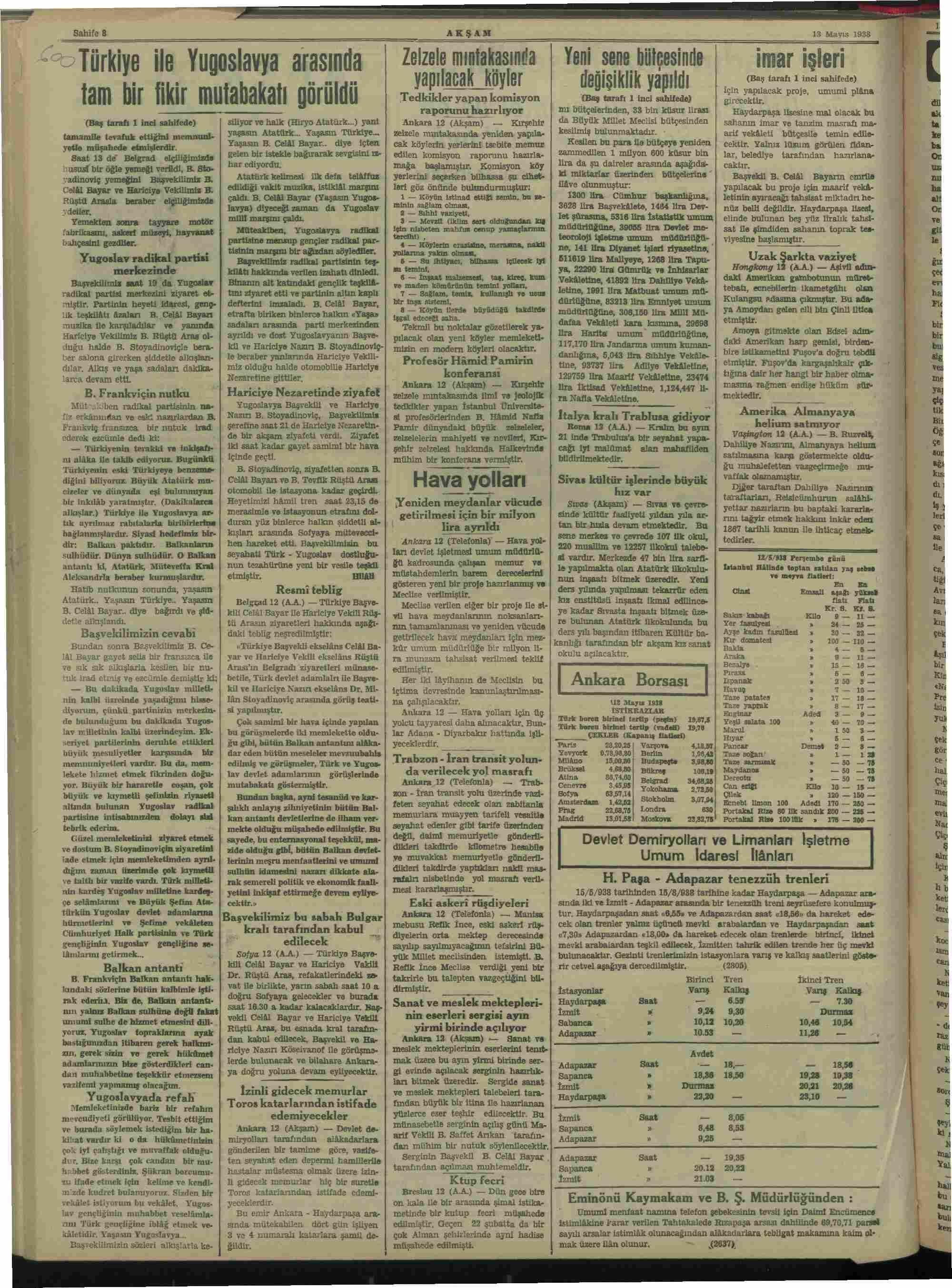 13 Mayıs 1938 Tarihli Akşam Gazetesi Sayfa 8