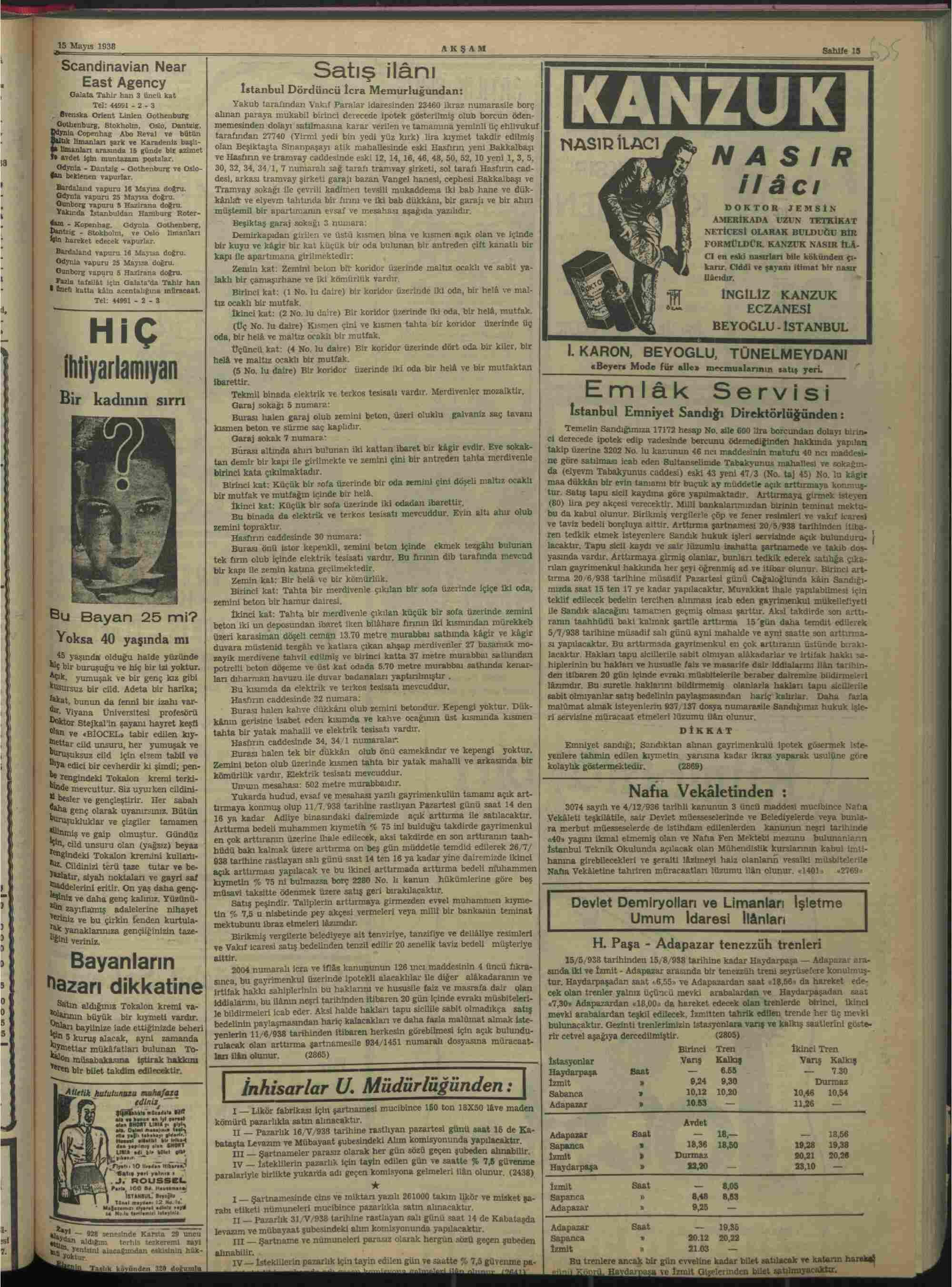 15 Mayıs 1938 Tarihli Akşam Gazetesi Sayfa 15