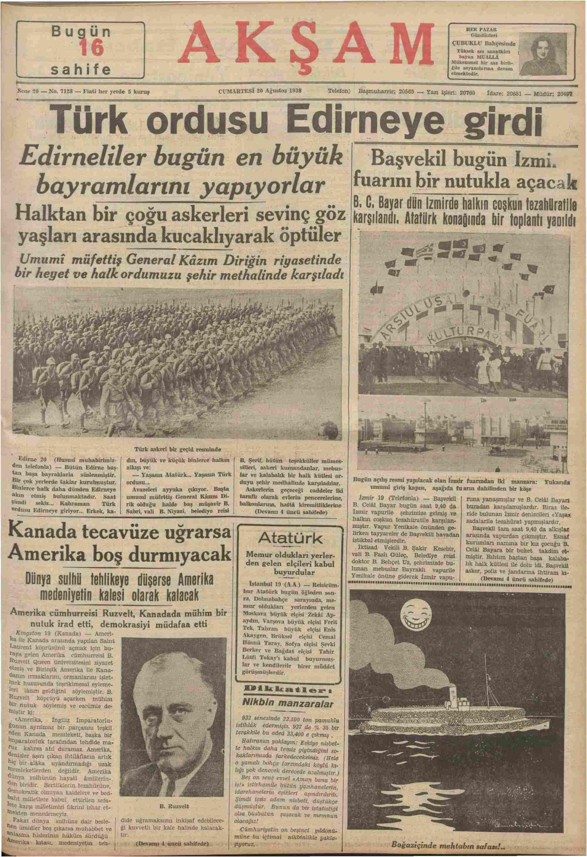 19 Ağustos 1938 Tarihli Akşam Gazetesi Sayfa 1