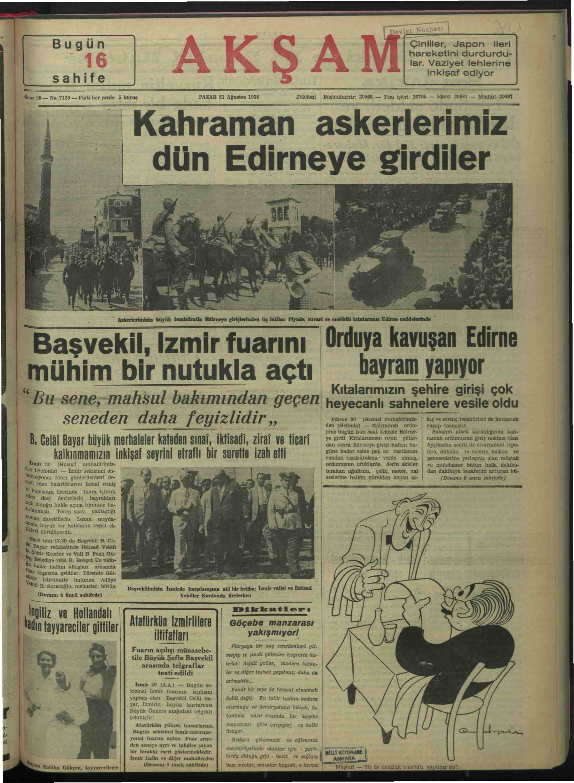 20 Ağustos 1938 Tarihli Akşam Gazetesi Sayfa 1