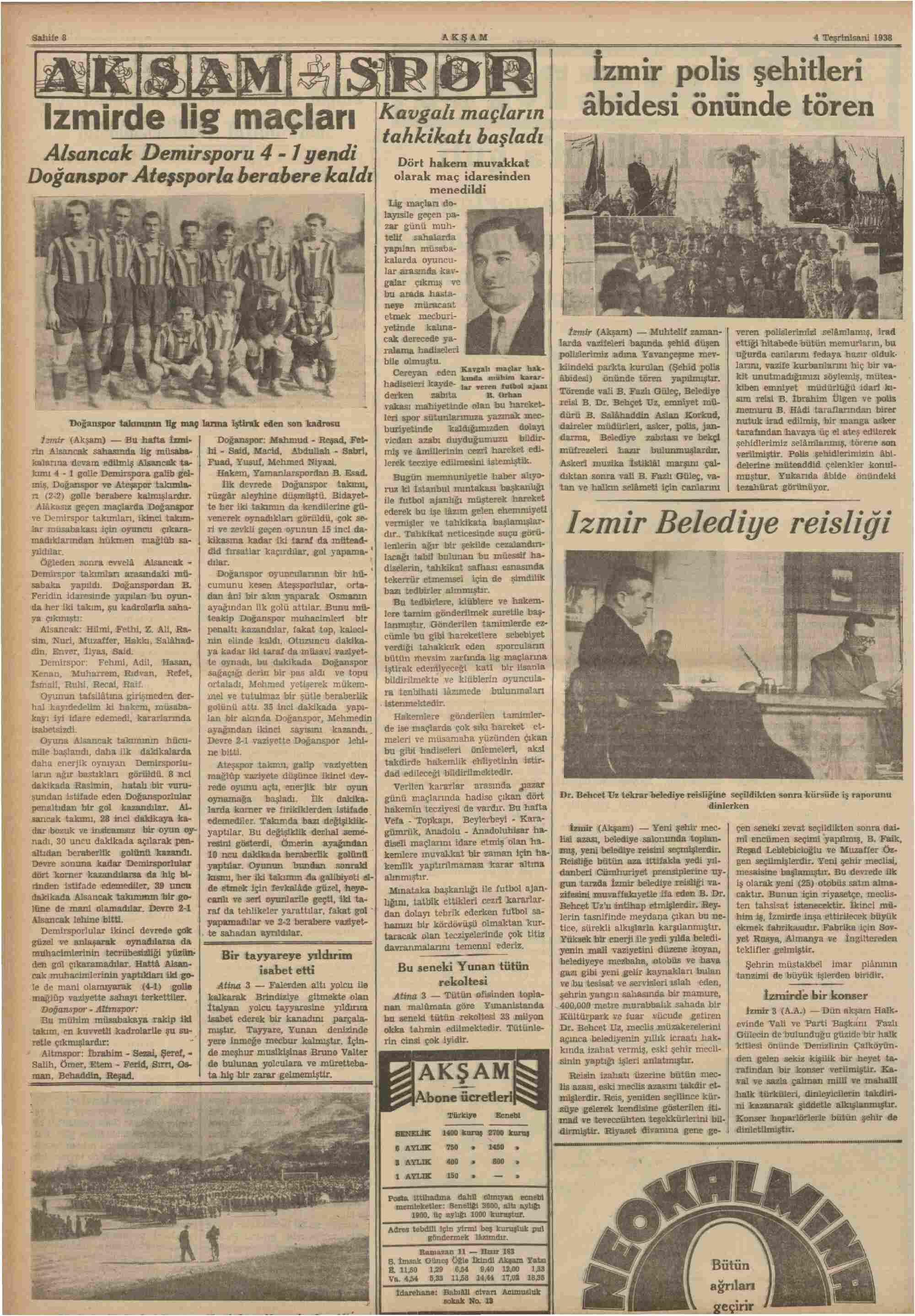 4 Kasım 1938 Tarihli Akşam Dergisi Sayfa 8