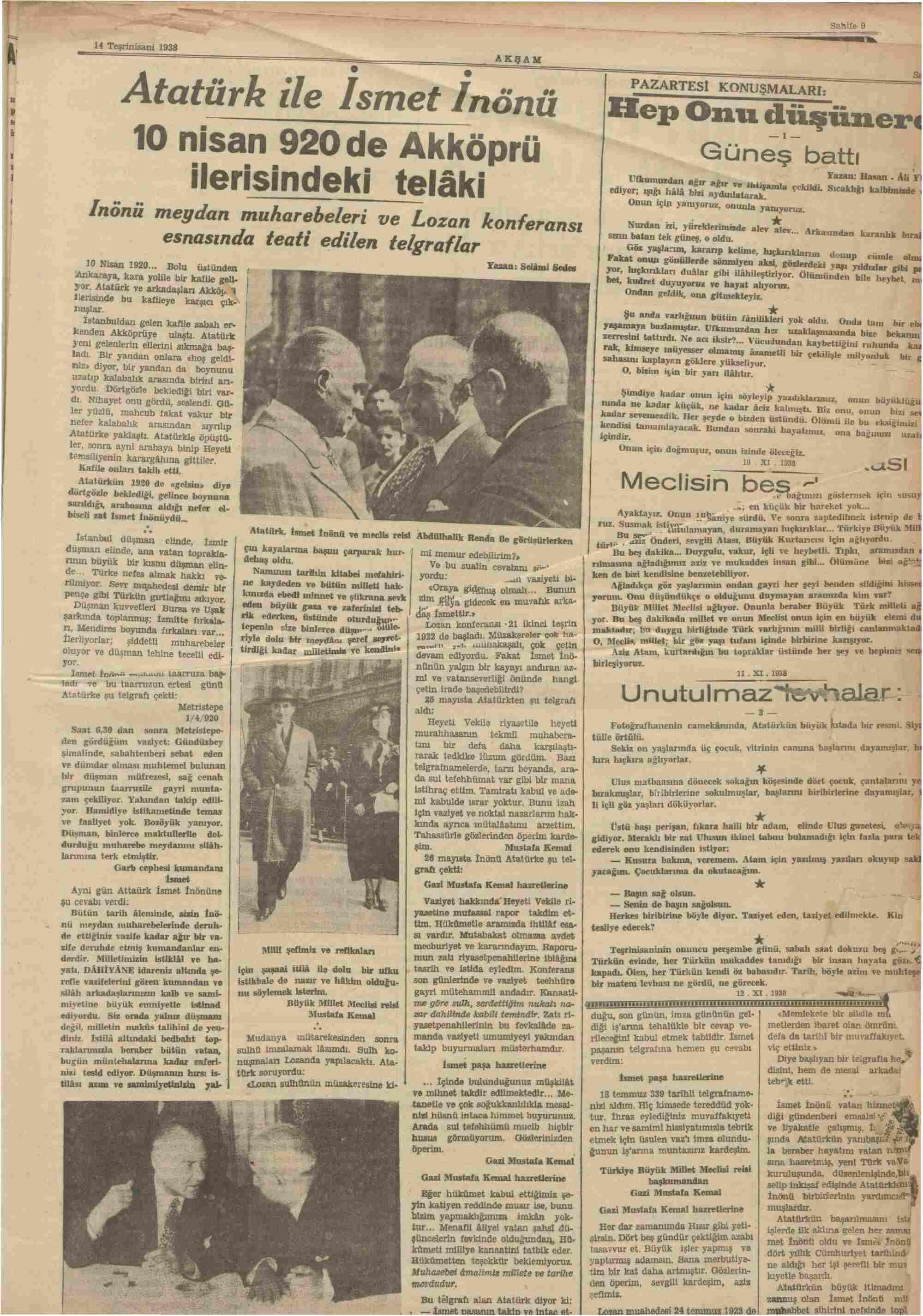 14 Kasım 1938 Tarihli Akşam Dergisi Sayfa 5