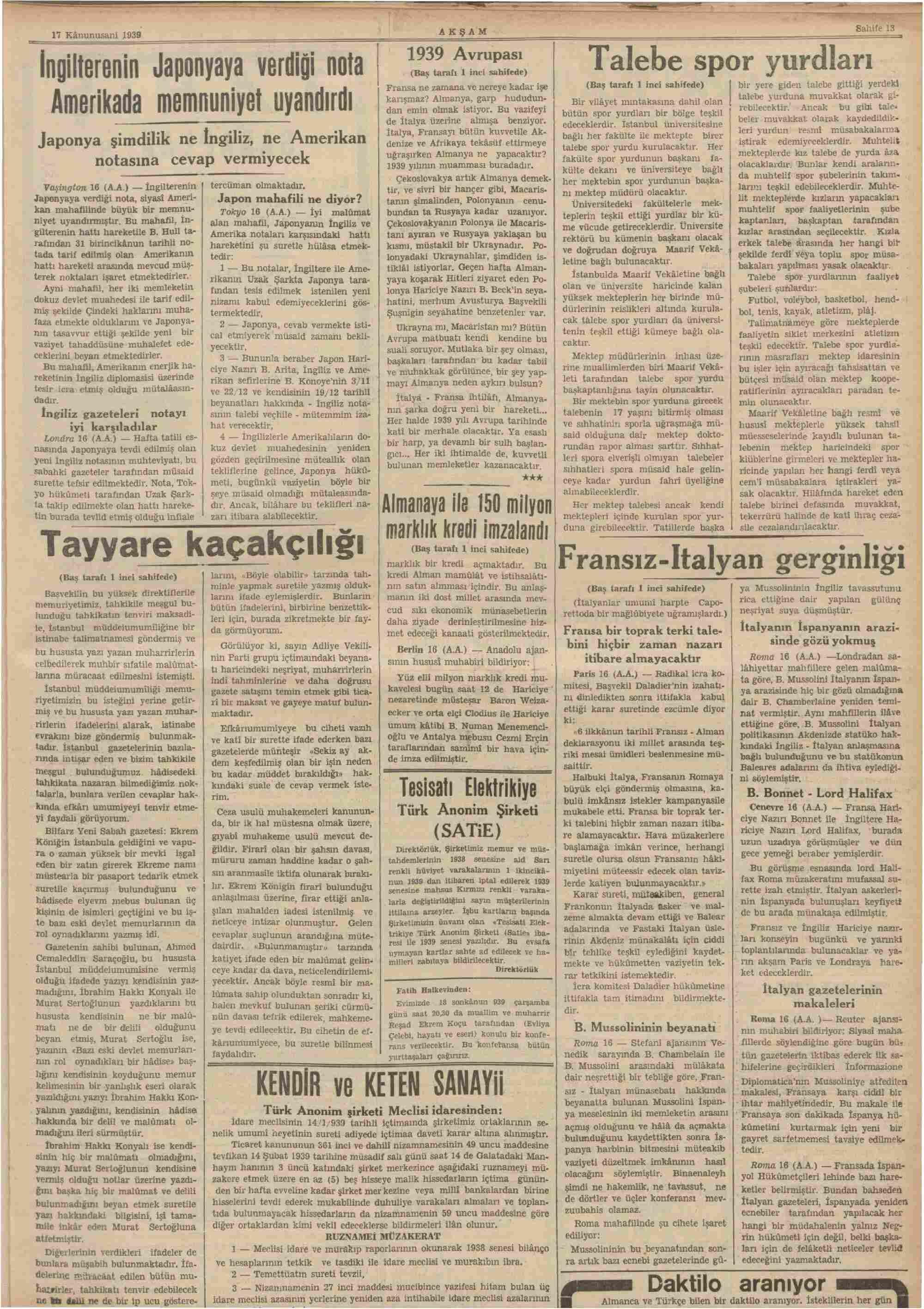 17 Ocak 1939 Tarihli Akşam Gazetesi Sayfa 13