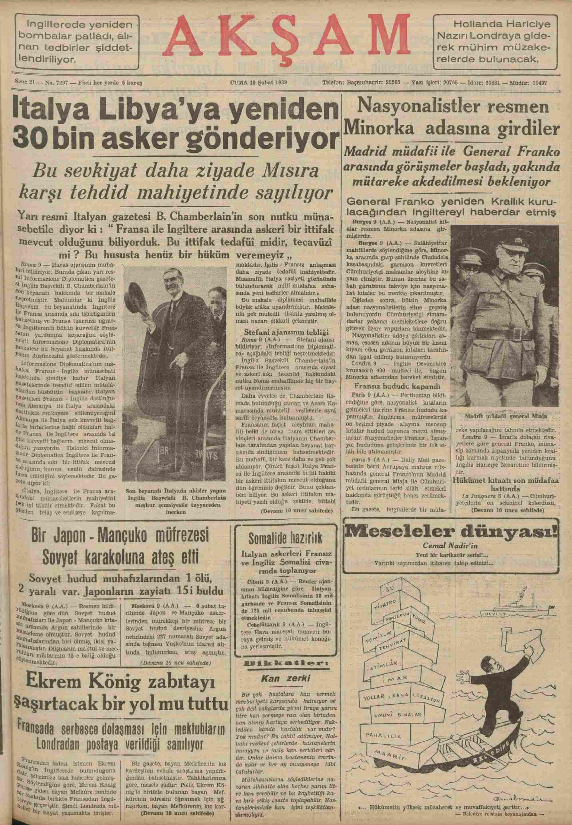 10 Şubat 1939 Tarihli Akşam Gazetesi Sayfa 1