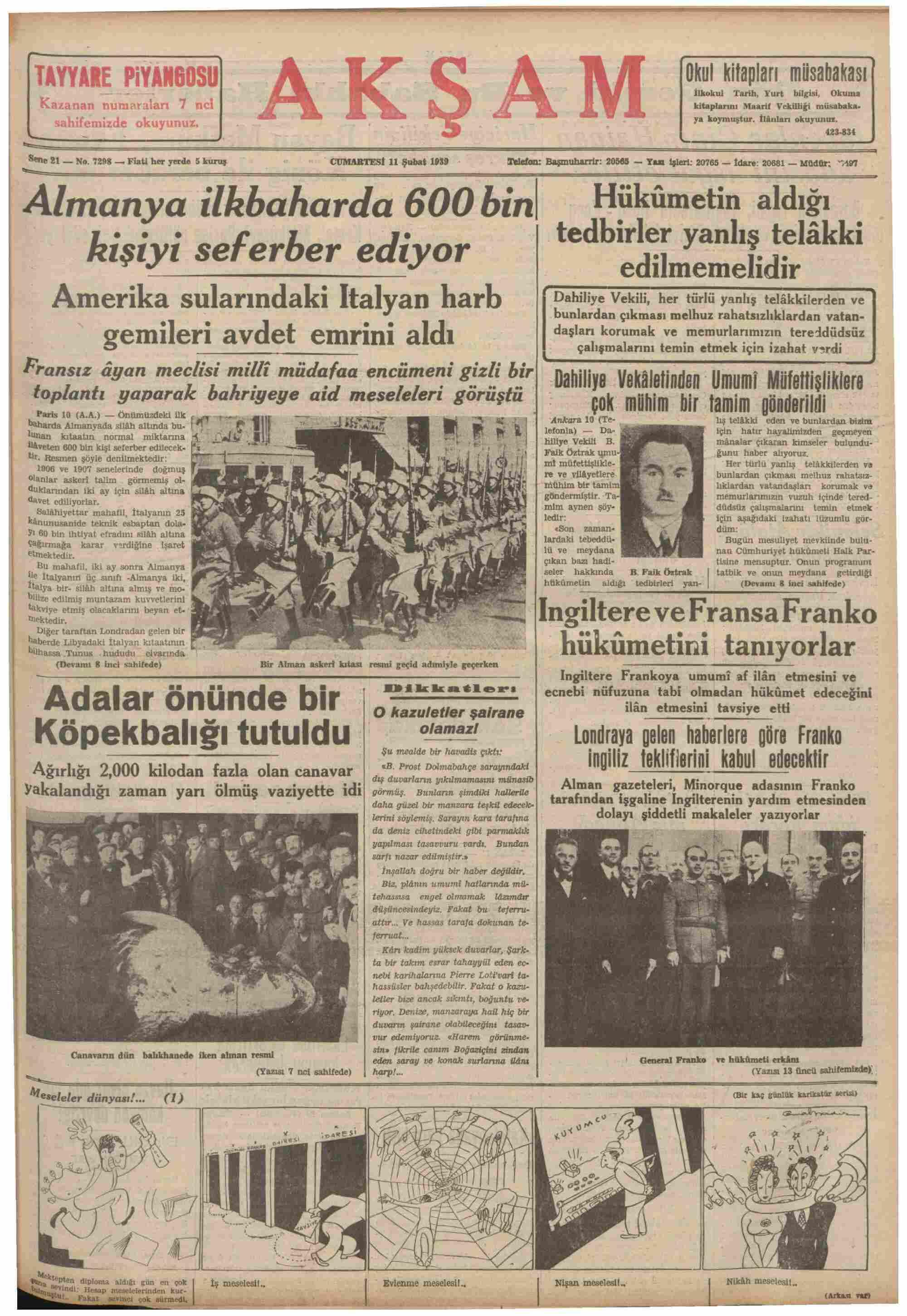 11 Şubat 1939 Tarihli Akşam Gazetesi Sayfa 1