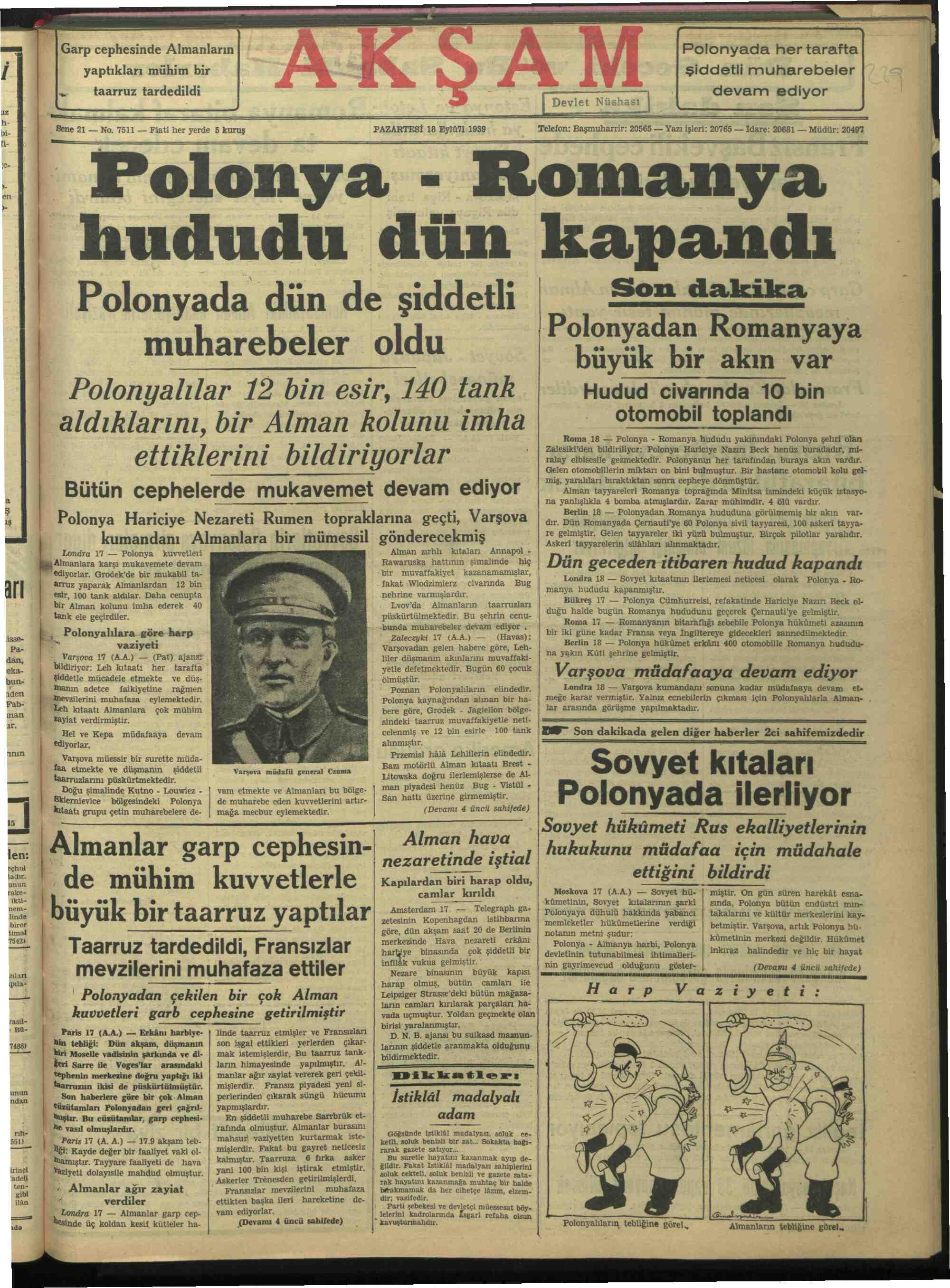18 Eylül 1939 Tarihli Akşam Gazetesi Sayfa 1
