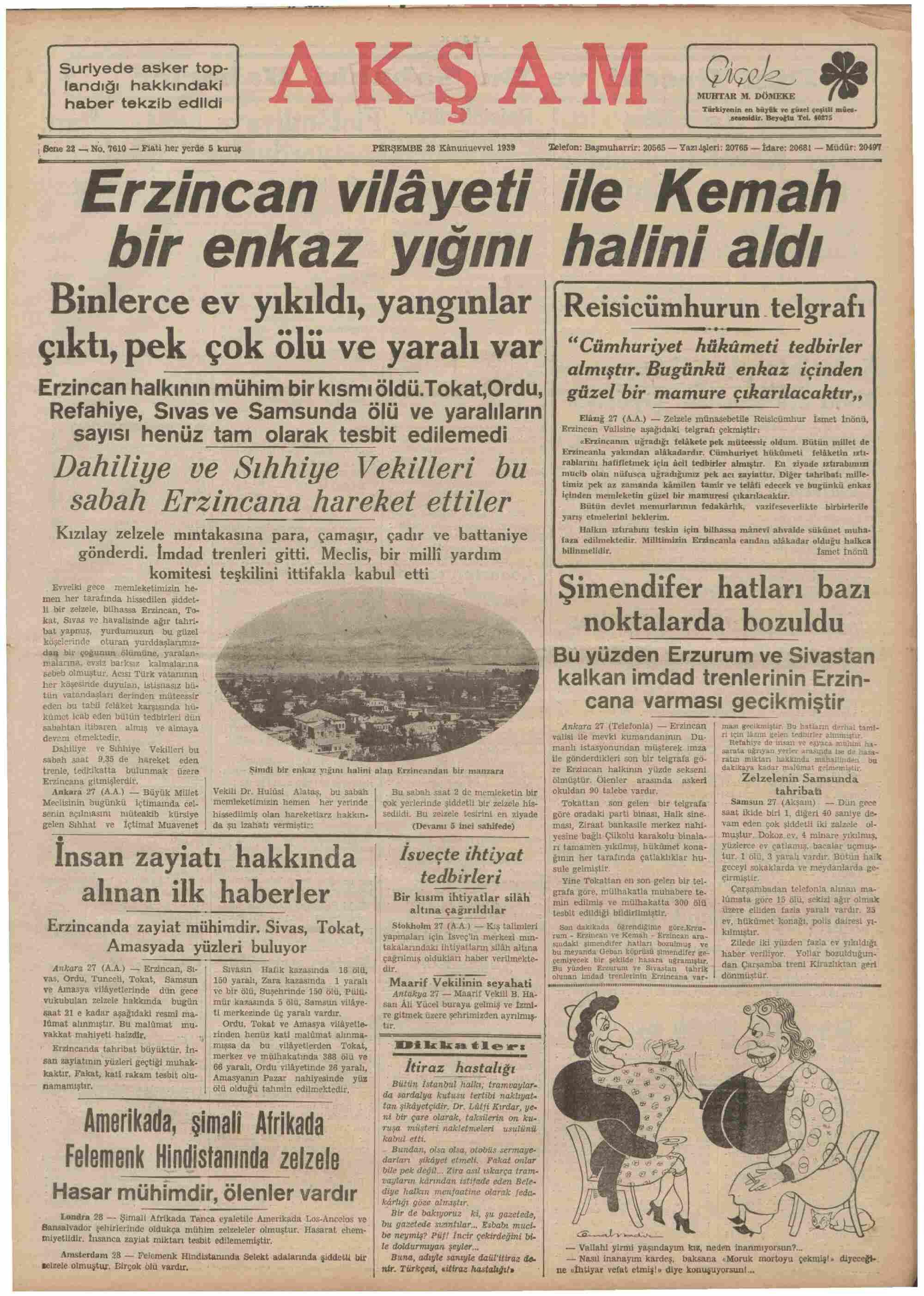28 Aralık 1939 Tarihli Akşam Gazetesi Sayfa 1