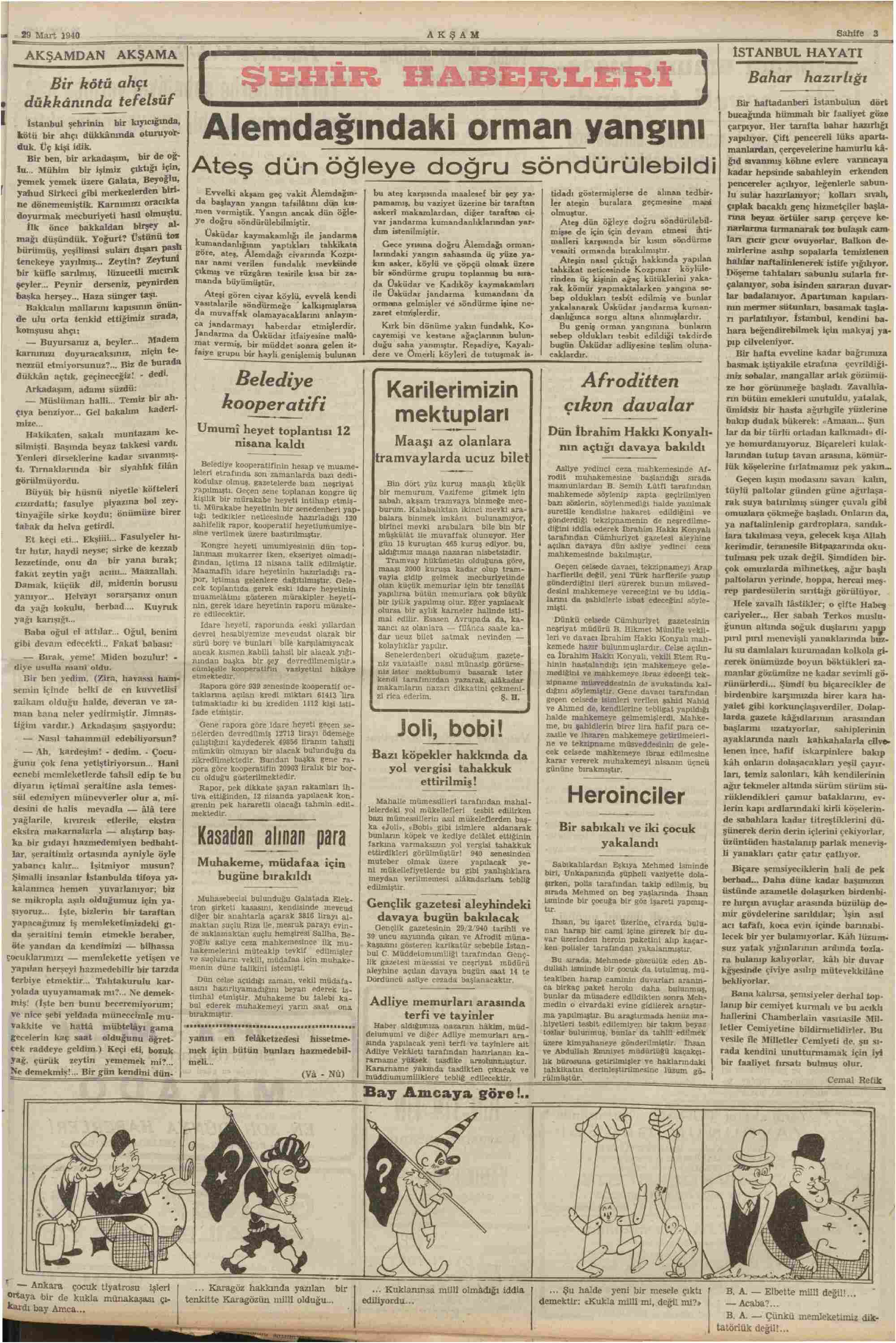 28 Mart 1940 Tarihli Akşam Gazetesi Sayfa 11