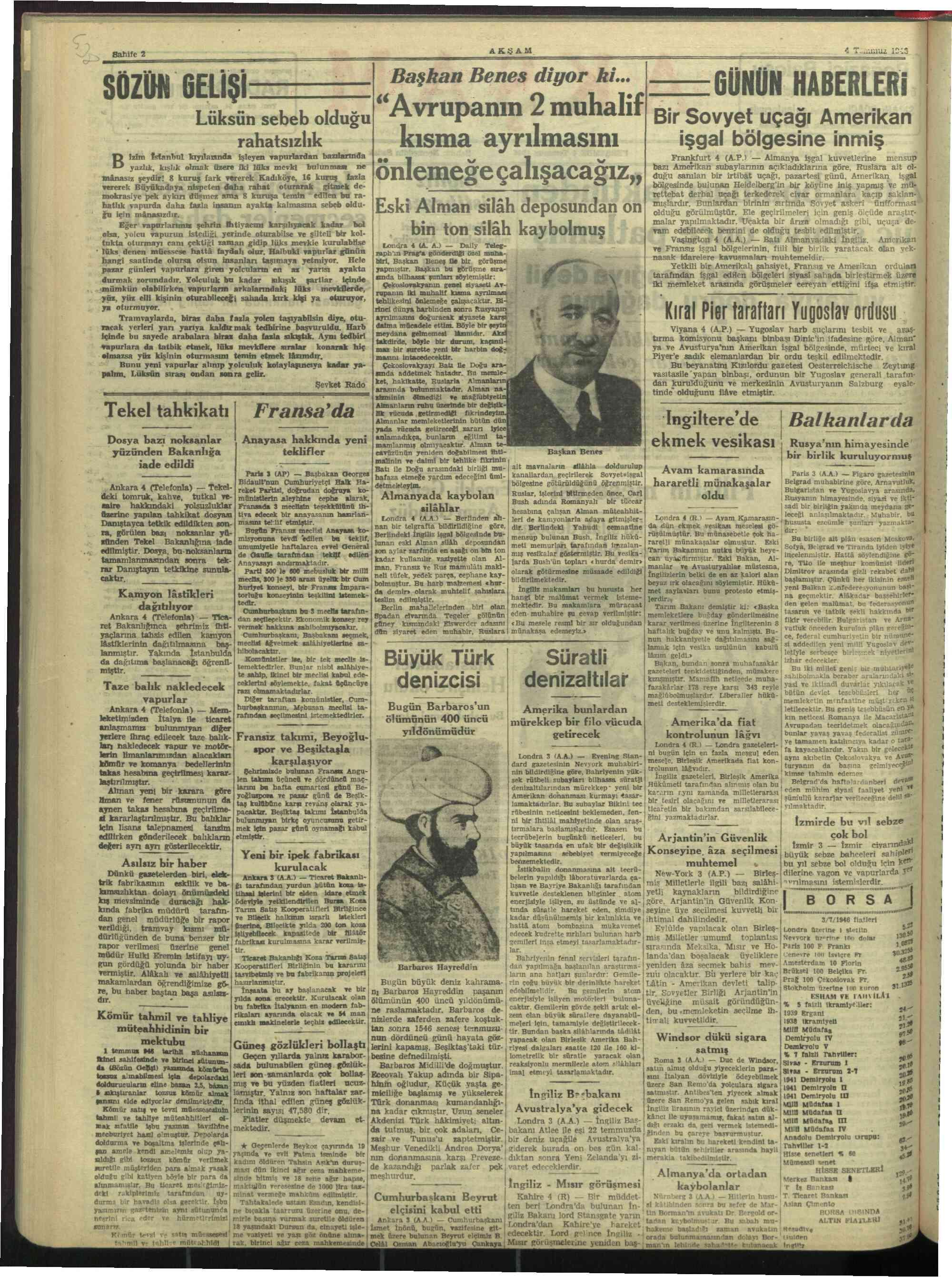 4 Temmuz 1946 Tarihli Akşam Gazetesi Sayfa 2