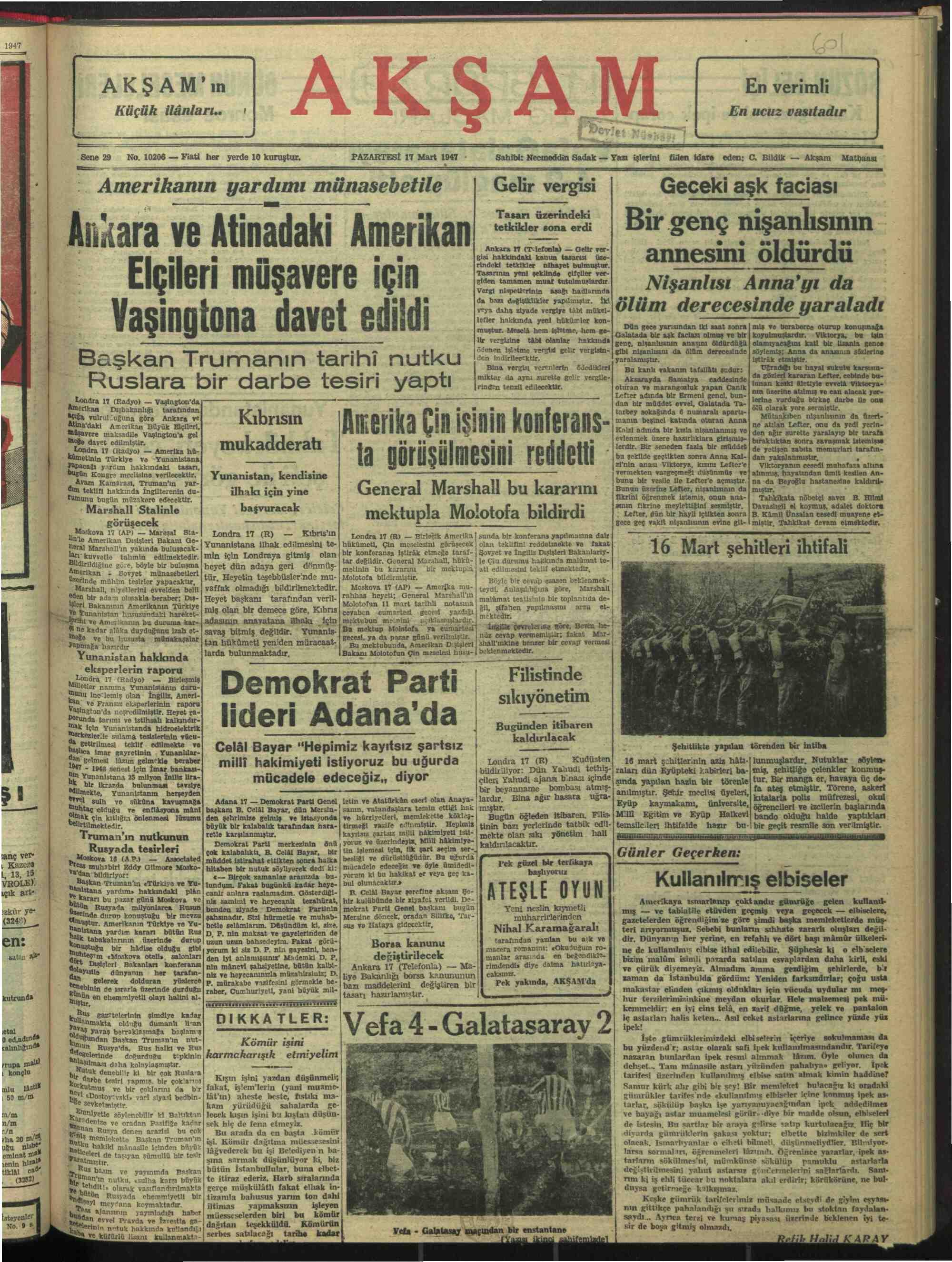 17 Mart 1947 Tarihli Akşam Gazetesi Sayfa 1
