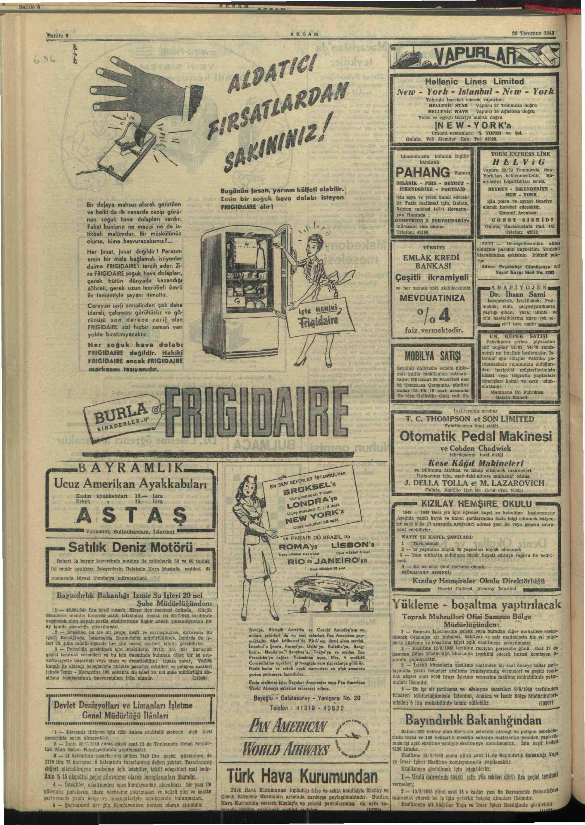 26 Temmuz 1948 Tarihli Akşam Dergisi Sayfa 8