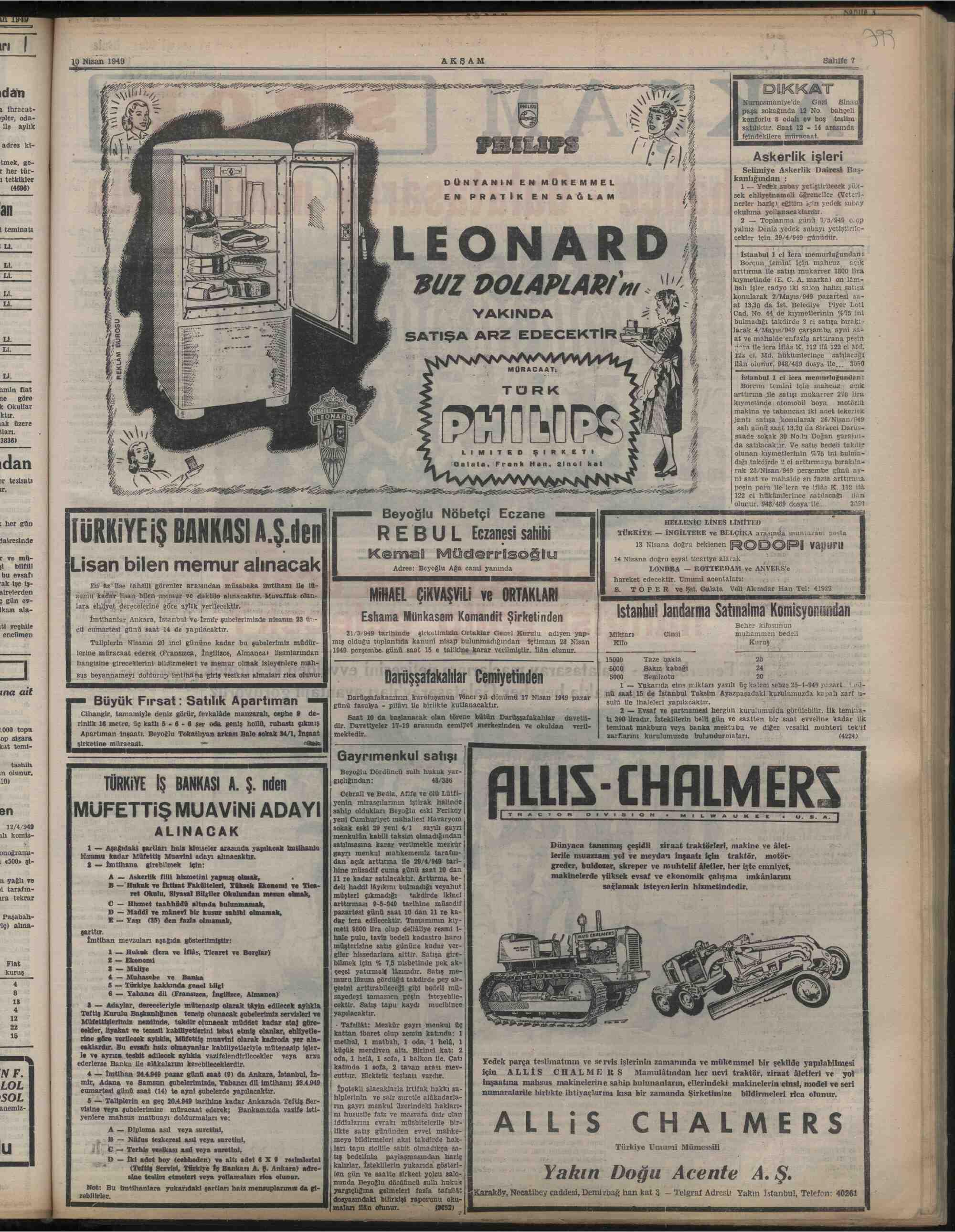 10 Nisan 1949 Tarihli Akşam Dergisi Sayfa 7