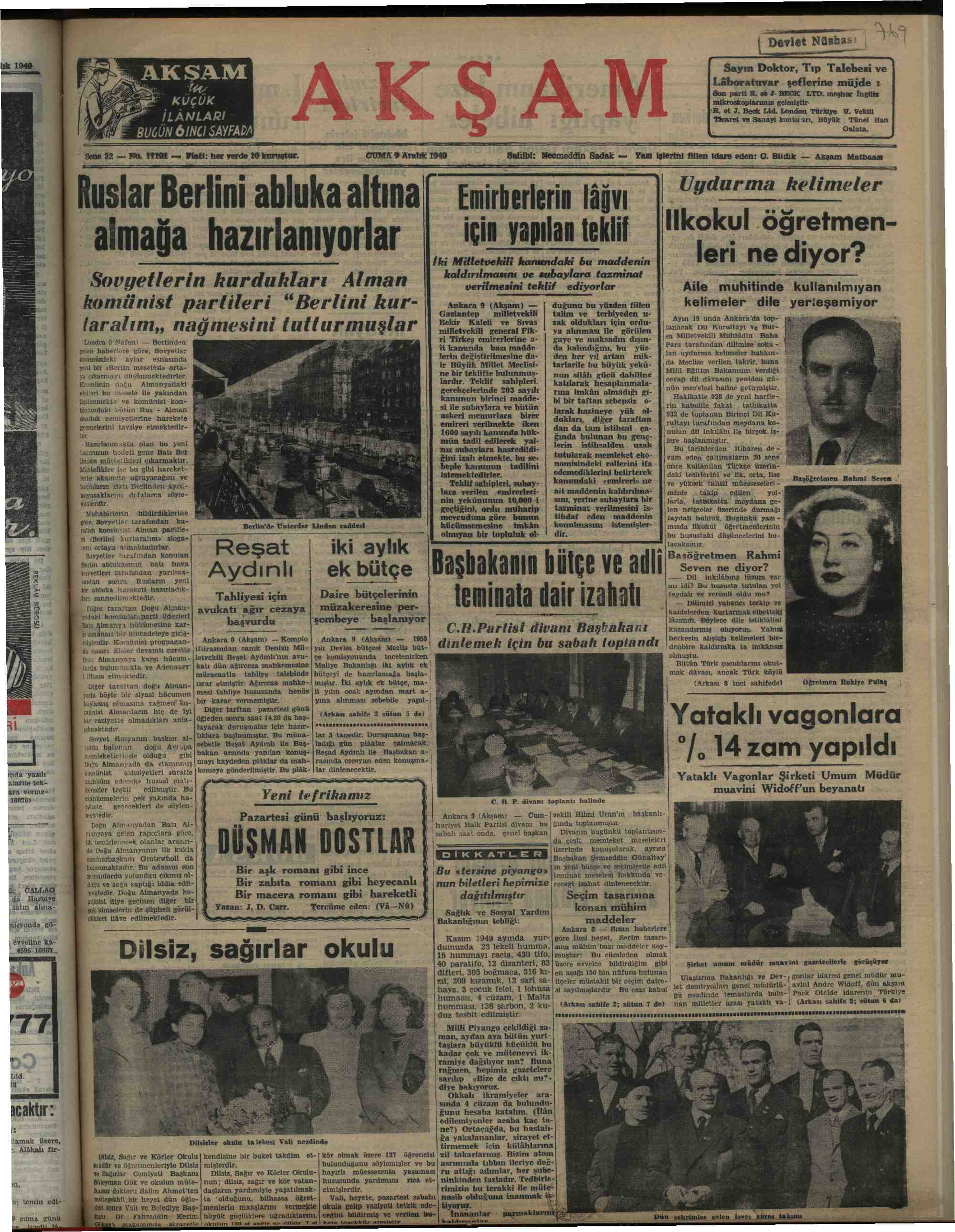 Newspaper of Akşam dated December 9, 1949 Page 1