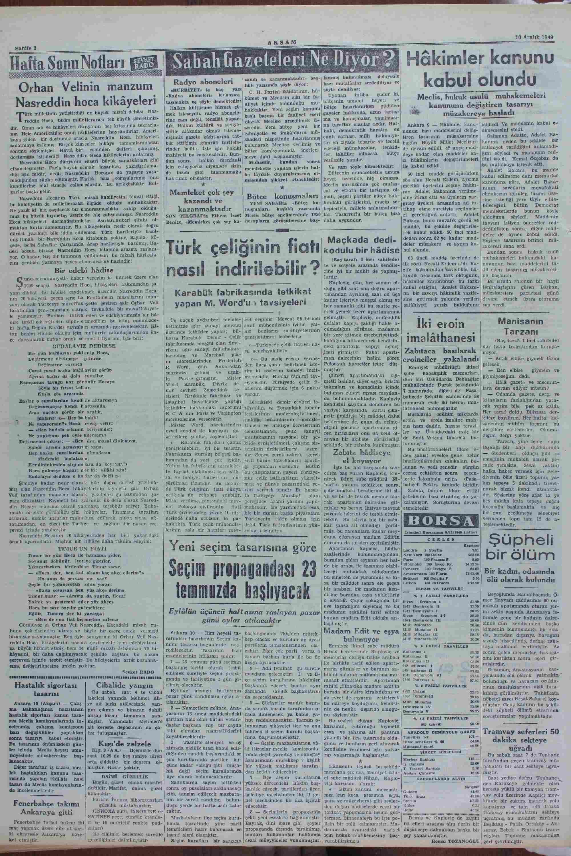 Newspaper of Akşam dated December 10, 1949 Page 2