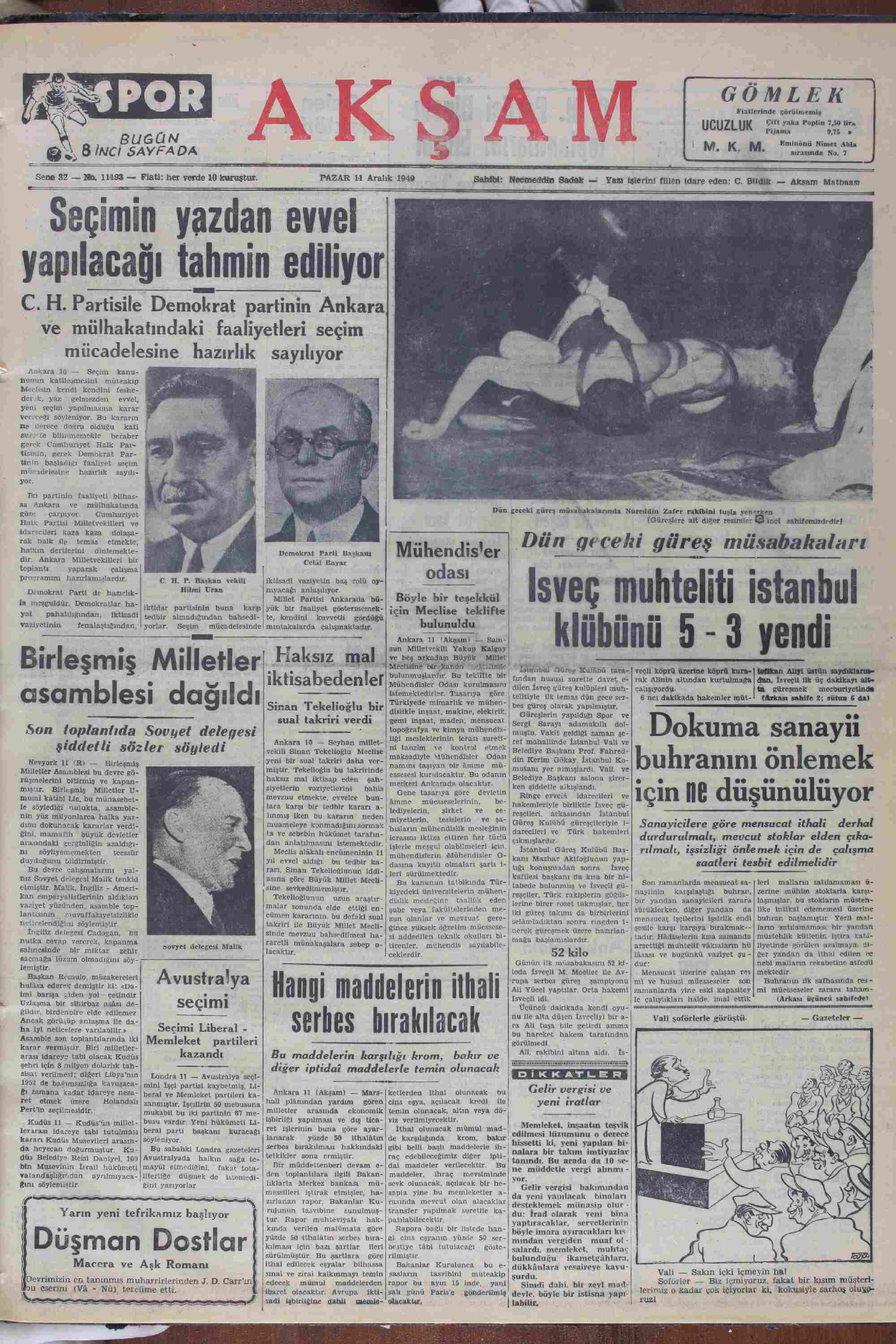 Newspaper of Akşam dated December 11, 1949 Page 1