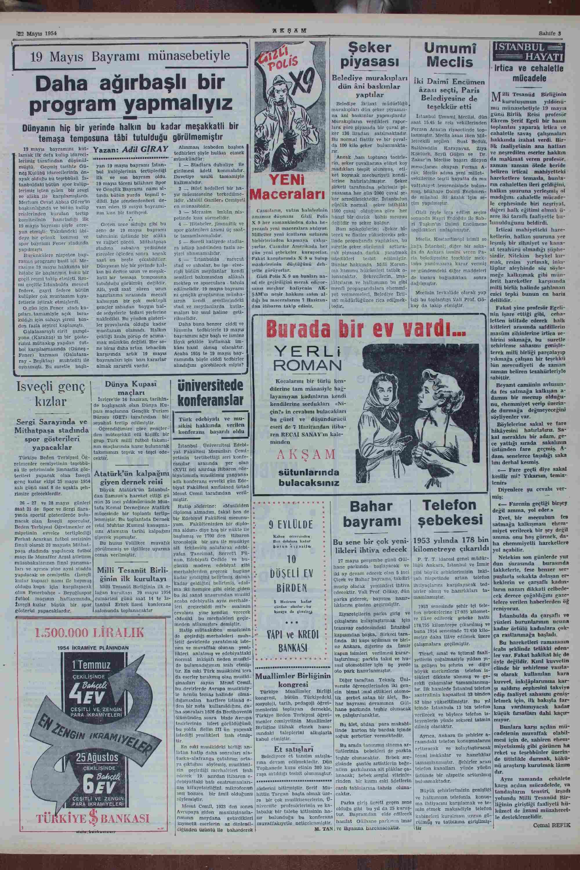 22 Mayıs 1954 tarihli Akşam Gazetesi Sayfa 3