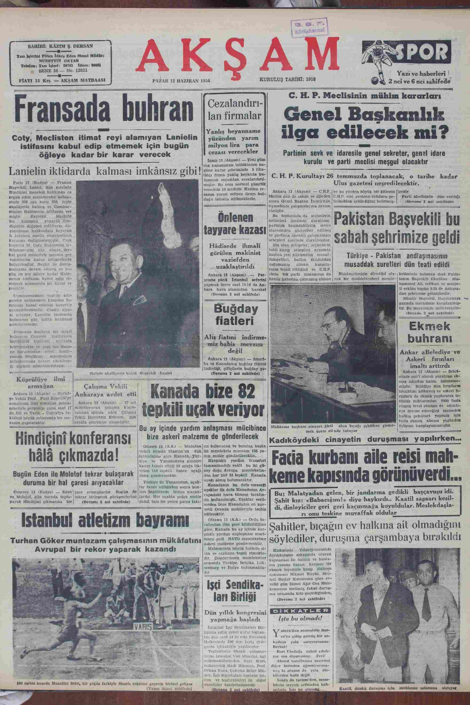 13 Haziran 1954 tarihli Akşam Gazetesi Sayfa 1
