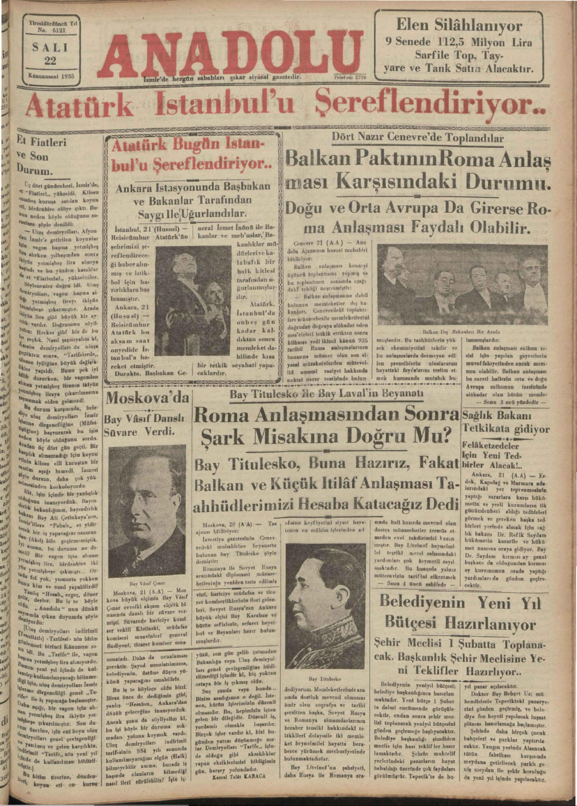 22 Ocak 1935 Tarihli Anadolu Gazetesi Sayfa 1