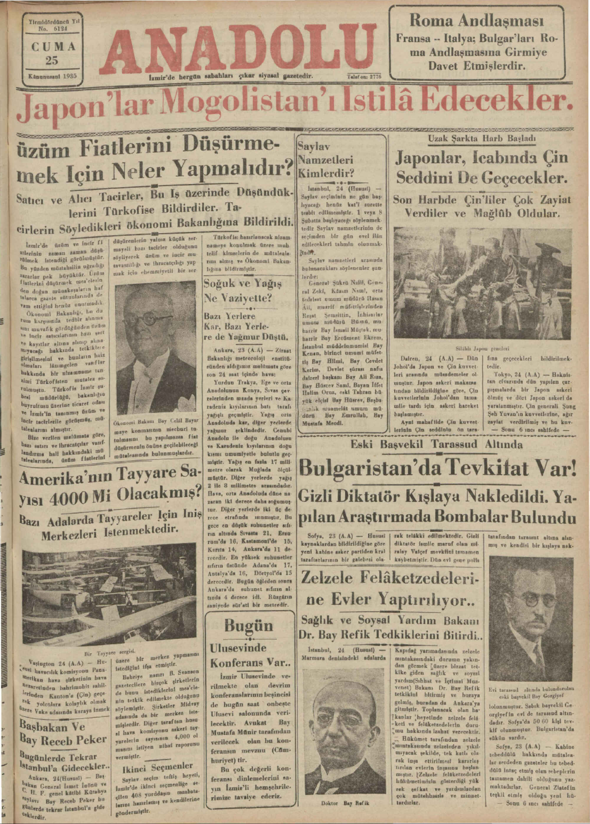25 Ocak 1935 Tarihli Anadolu Gazetesi Sayfa 1