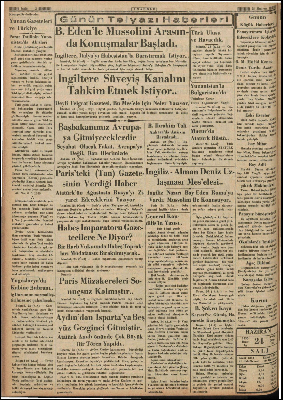 25 Haziran 1935 Tarihli Anadolu Gazetesi Sayfa 2