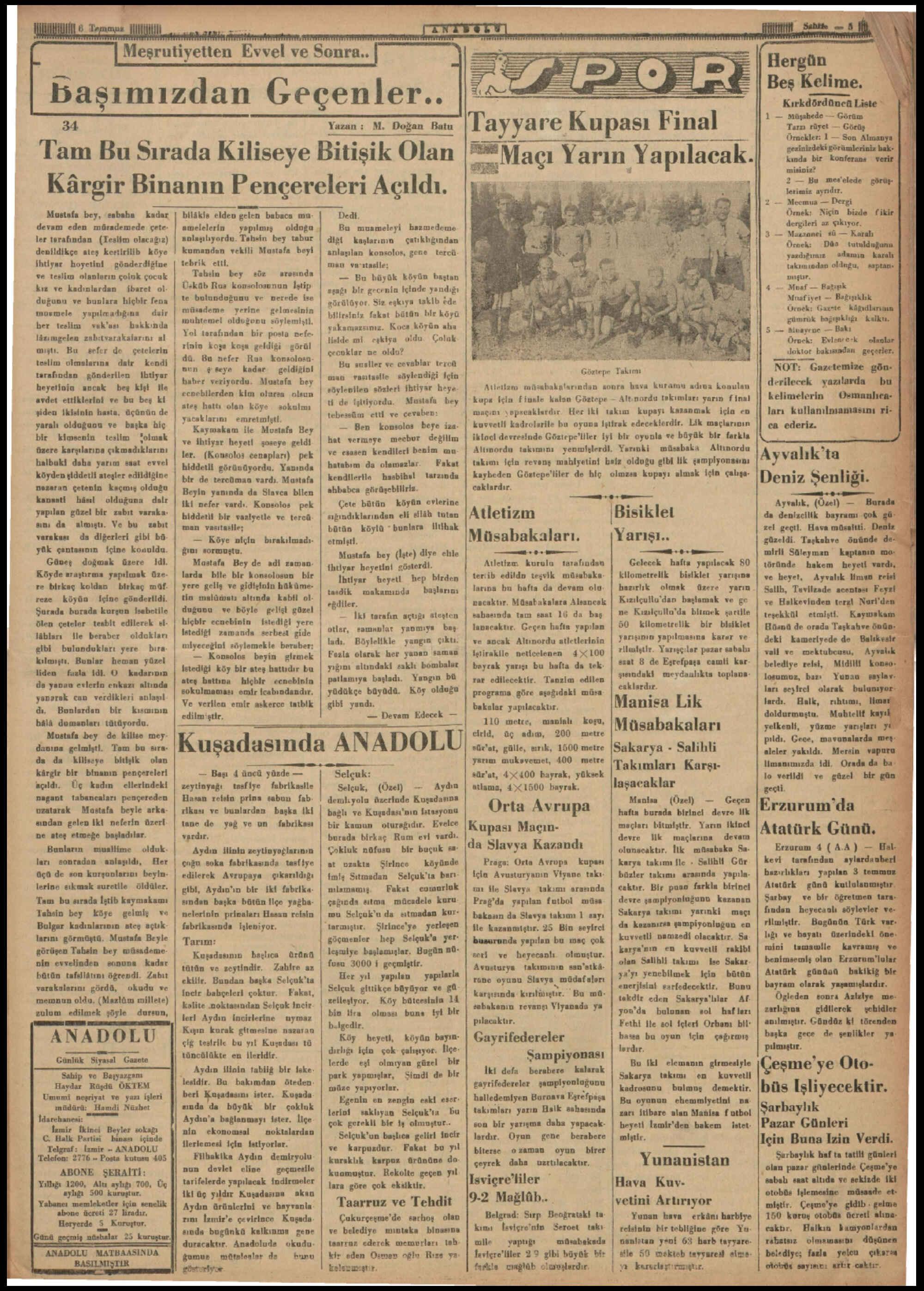 6 Temmuz 1935 Tarihli Anadolu Dergisi Sayfa 5