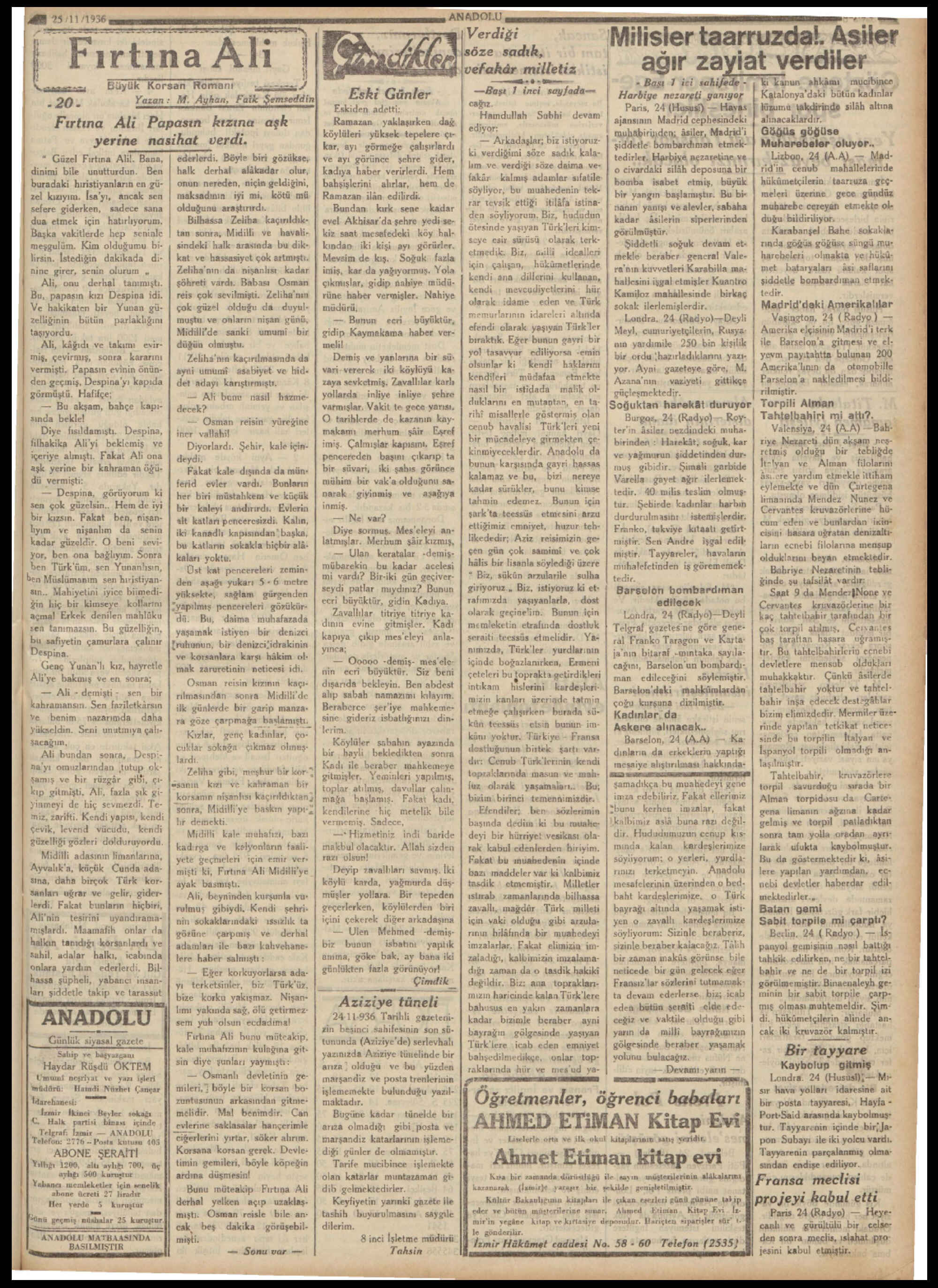 25 Kasım 1936 Tarihli Anadolu Dergisi Sayfa 5